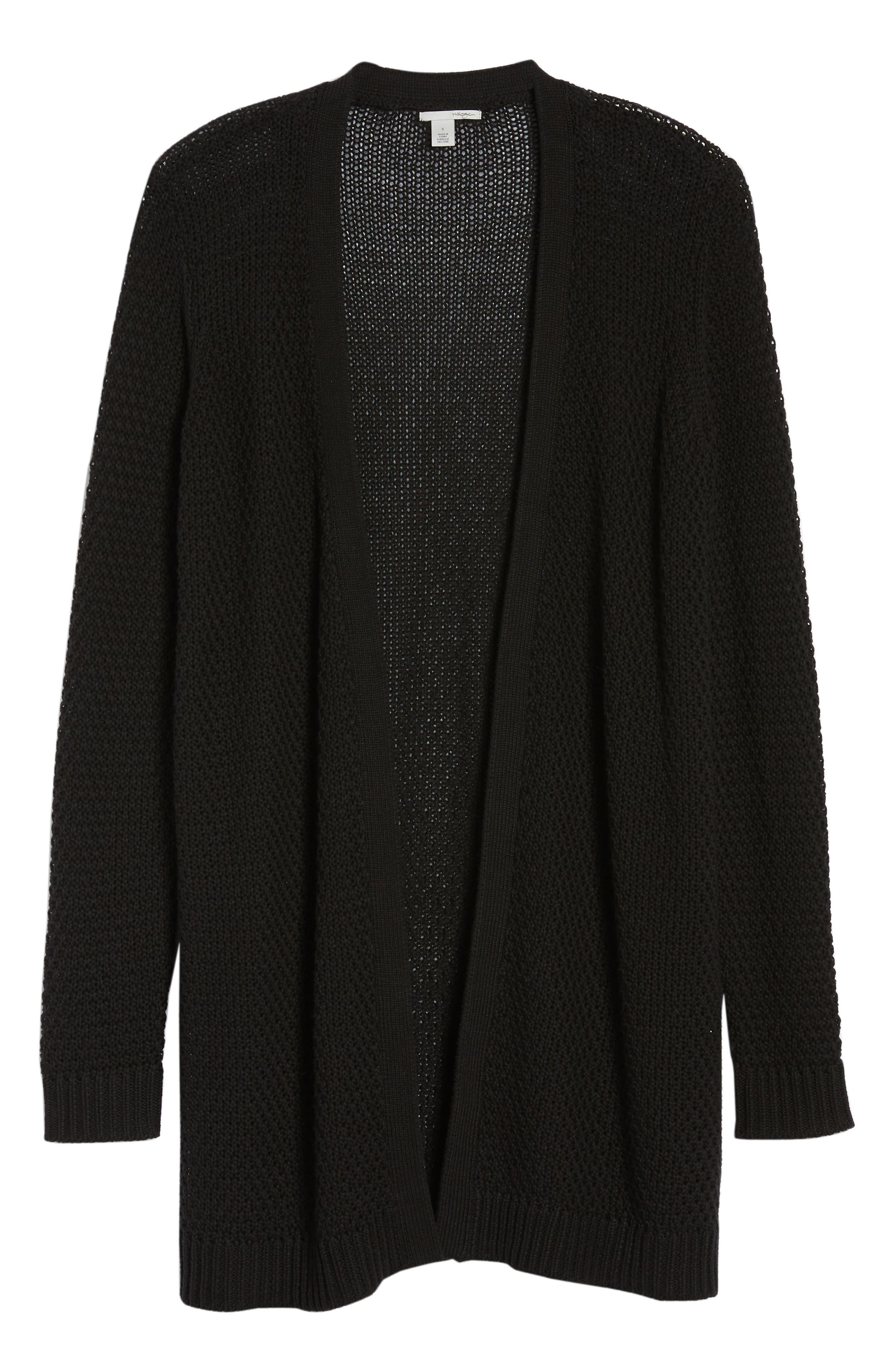 Textured Cotton Knit Cardigan,                             Alternate thumbnail 7, color,                             BLACK