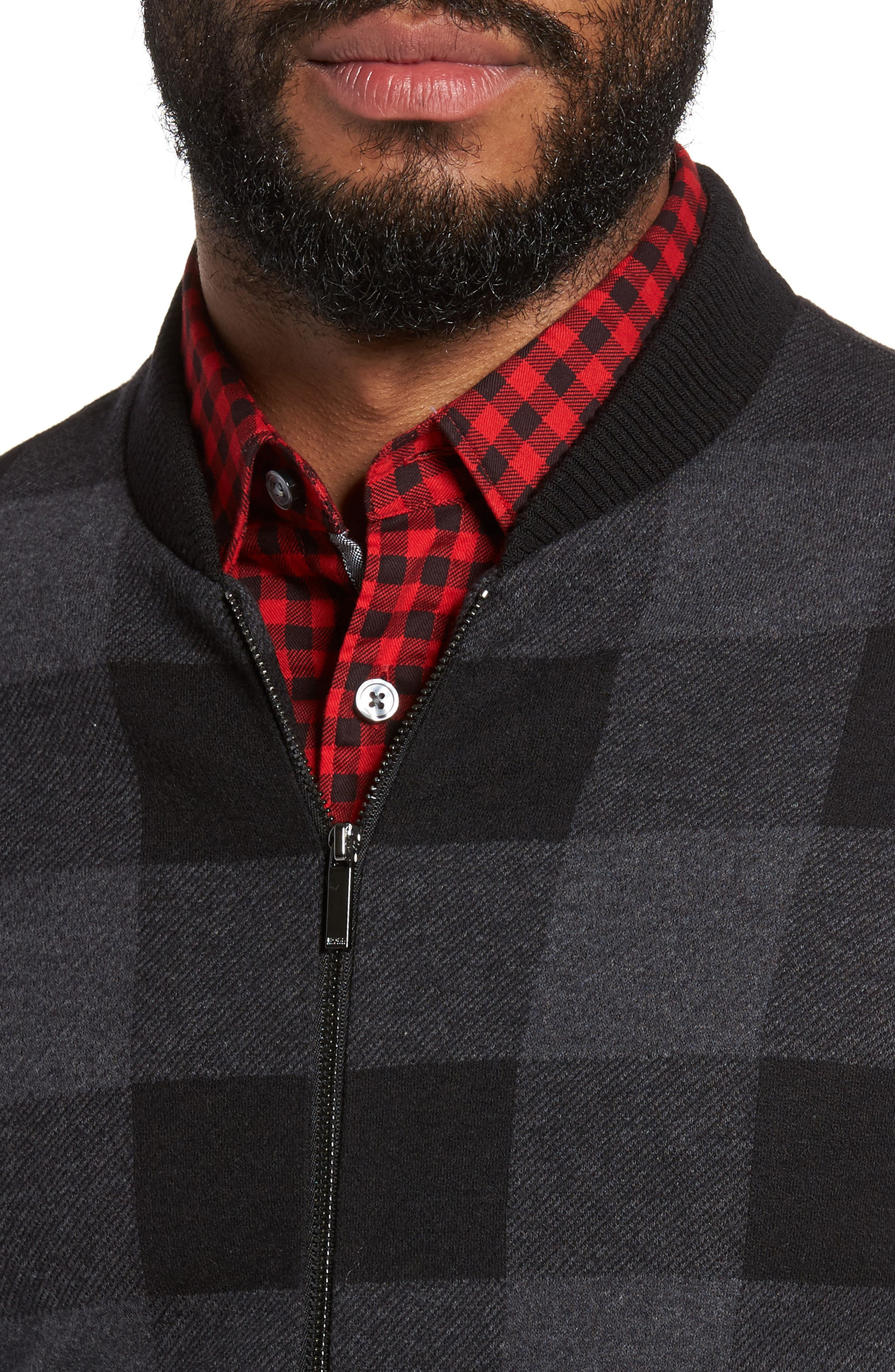 Salea Check Wool Blend Bomber Jacket,                             Alternate thumbnail 4, color,                             001
