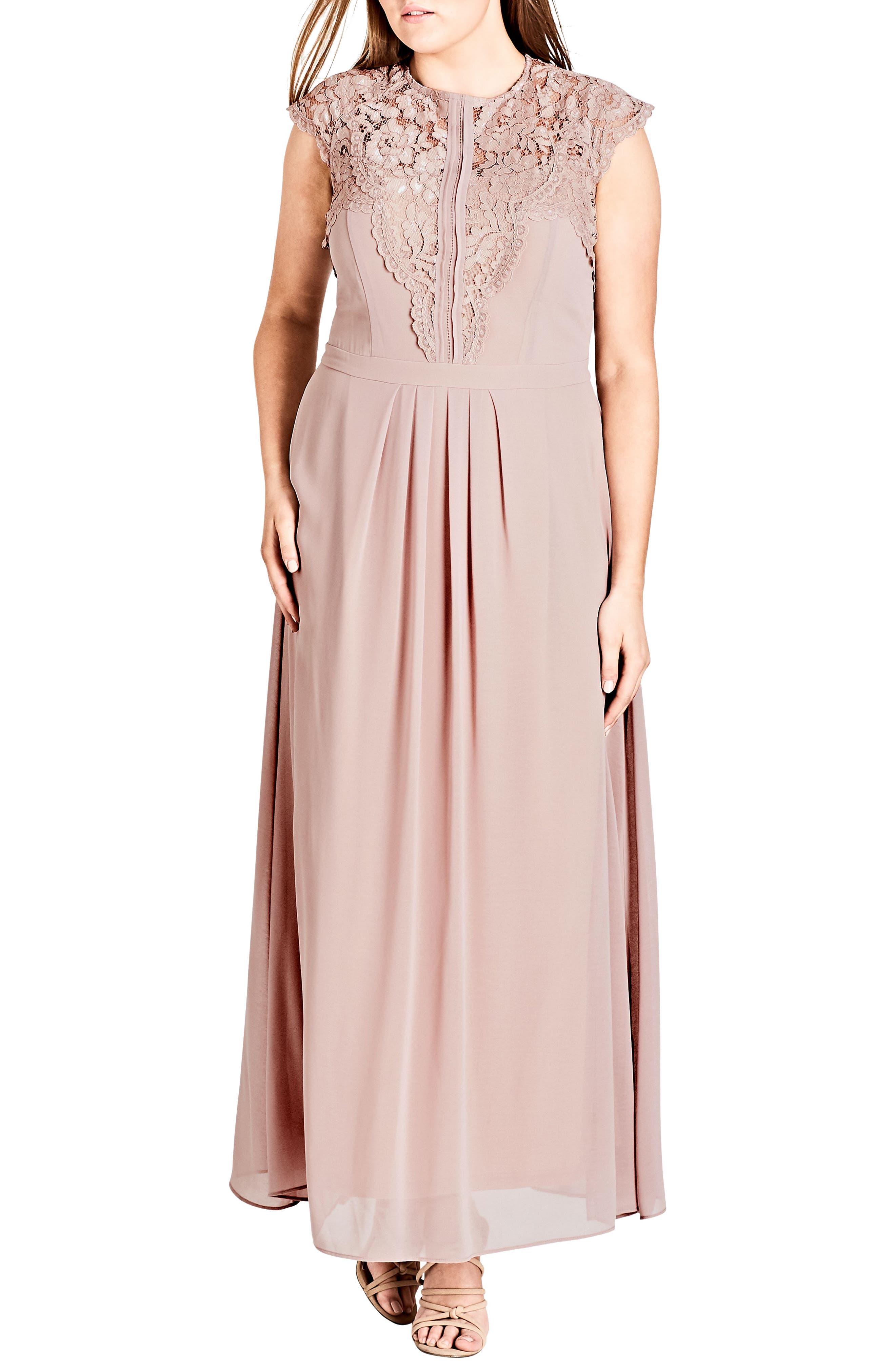 Lace Bodice Maxi Dress,                             Main thumbnail 1, color,                             MUSHROOM