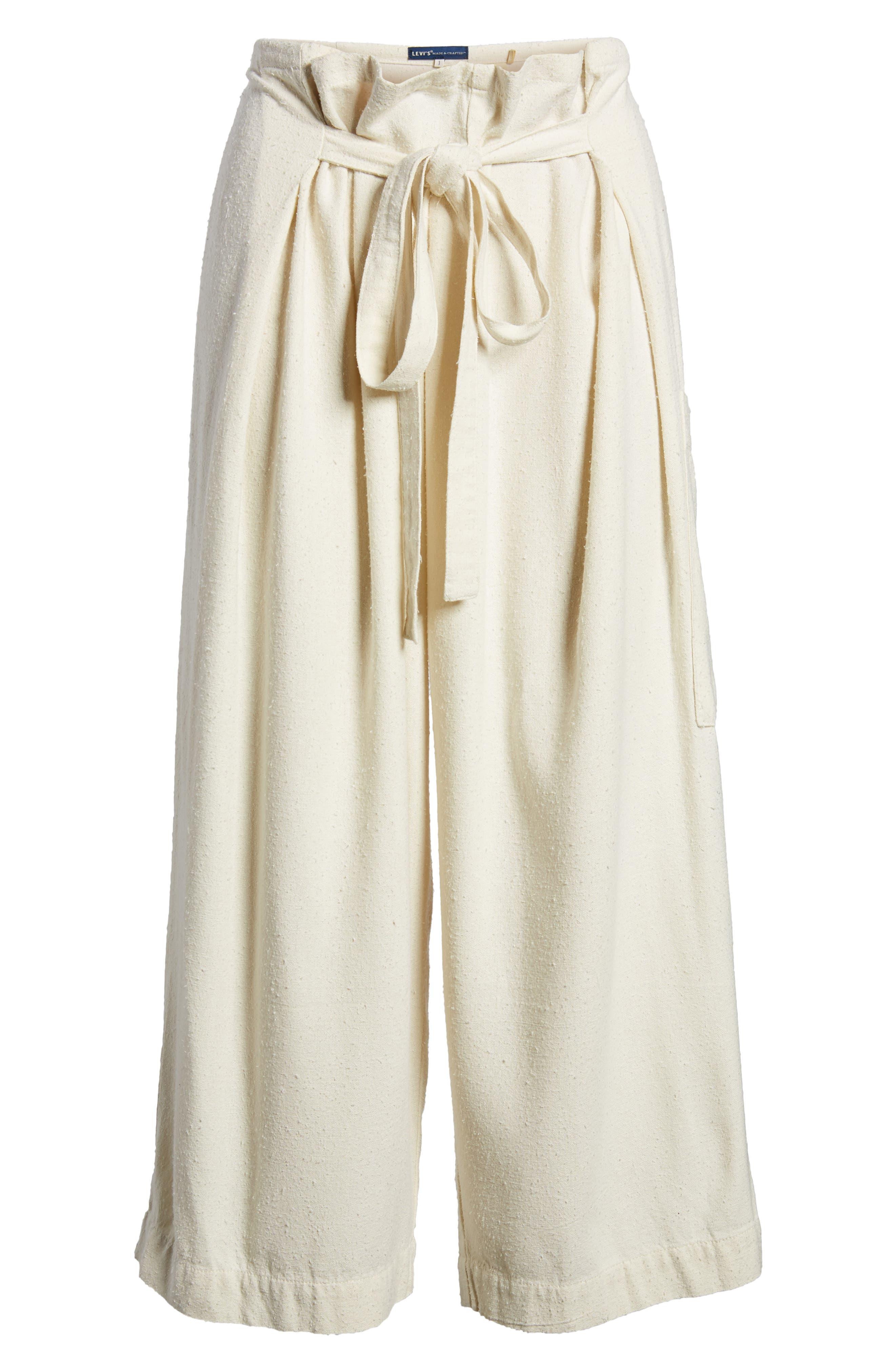 High Waist Crop Silk Beach Pants,                             Alternate thumbnail 7, color,                             100