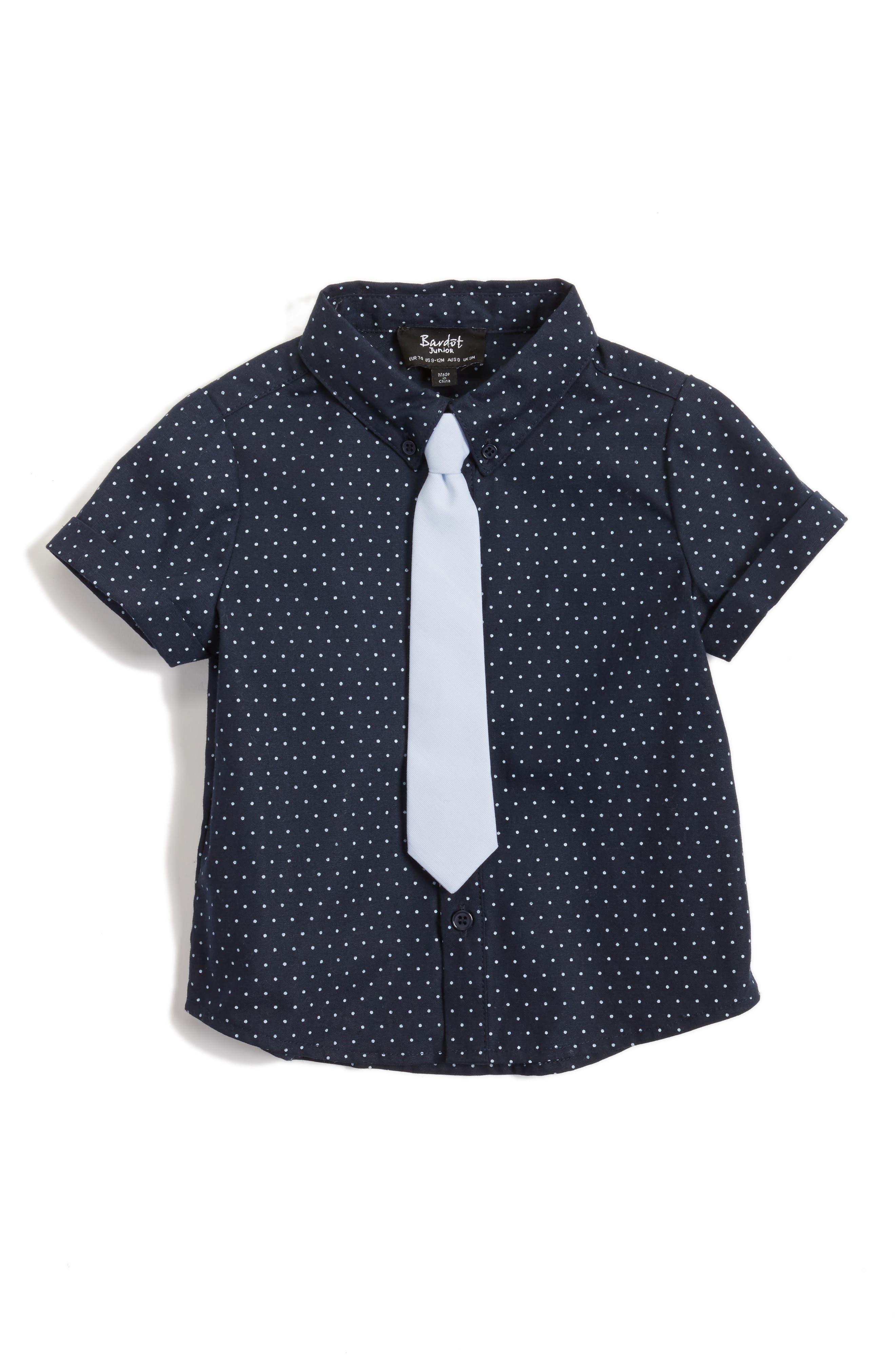 BARDOT JUNIOR Lester Shirt & Tie Set, Main, color, 411