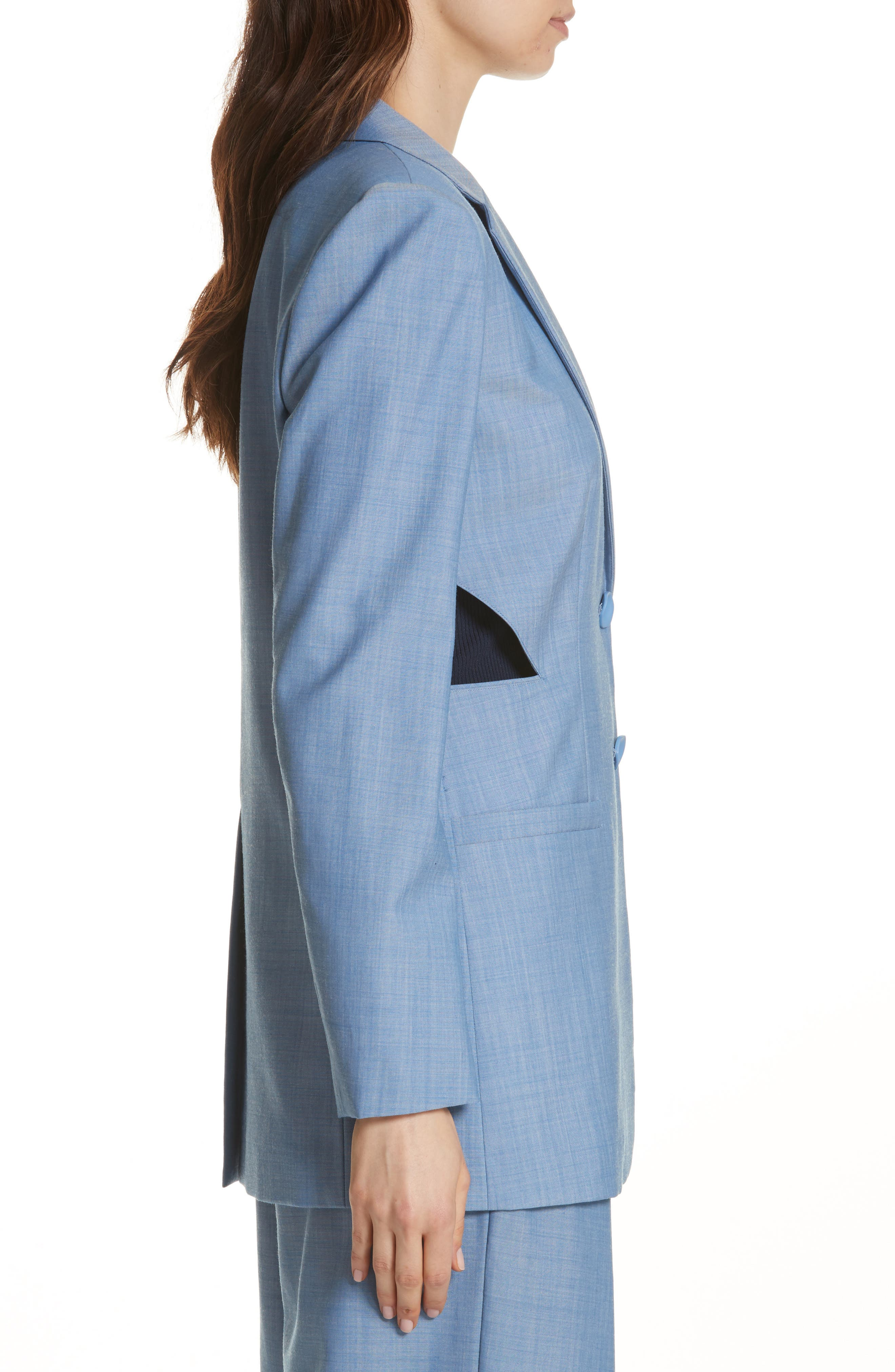Side Cutout Wool Jacket,                             Alternate thumbnail 3, color,                             450