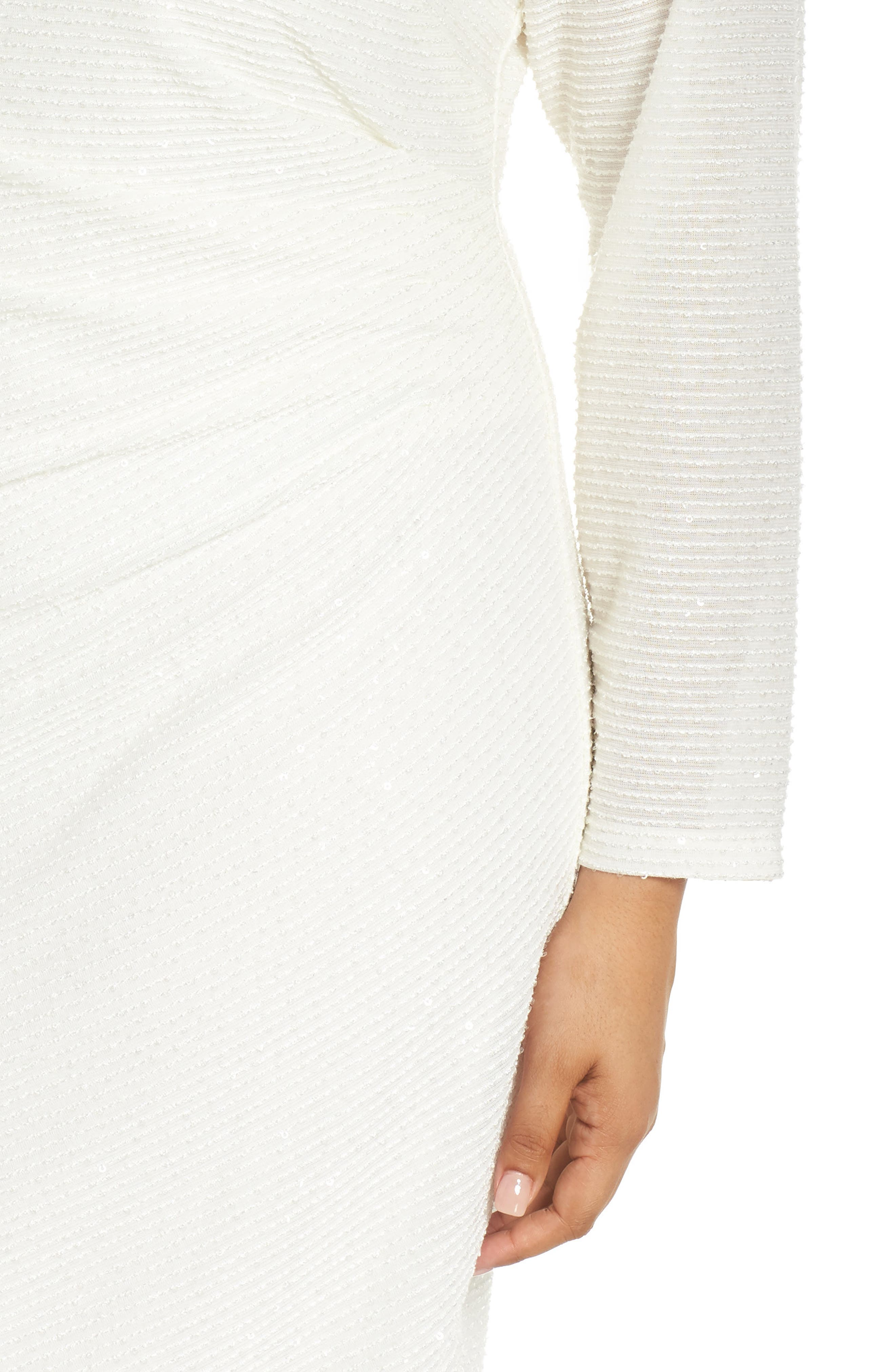 Sequin & Ruched Body-Con Dress,                             Alternate thumbnail 4, color,                             IVORY