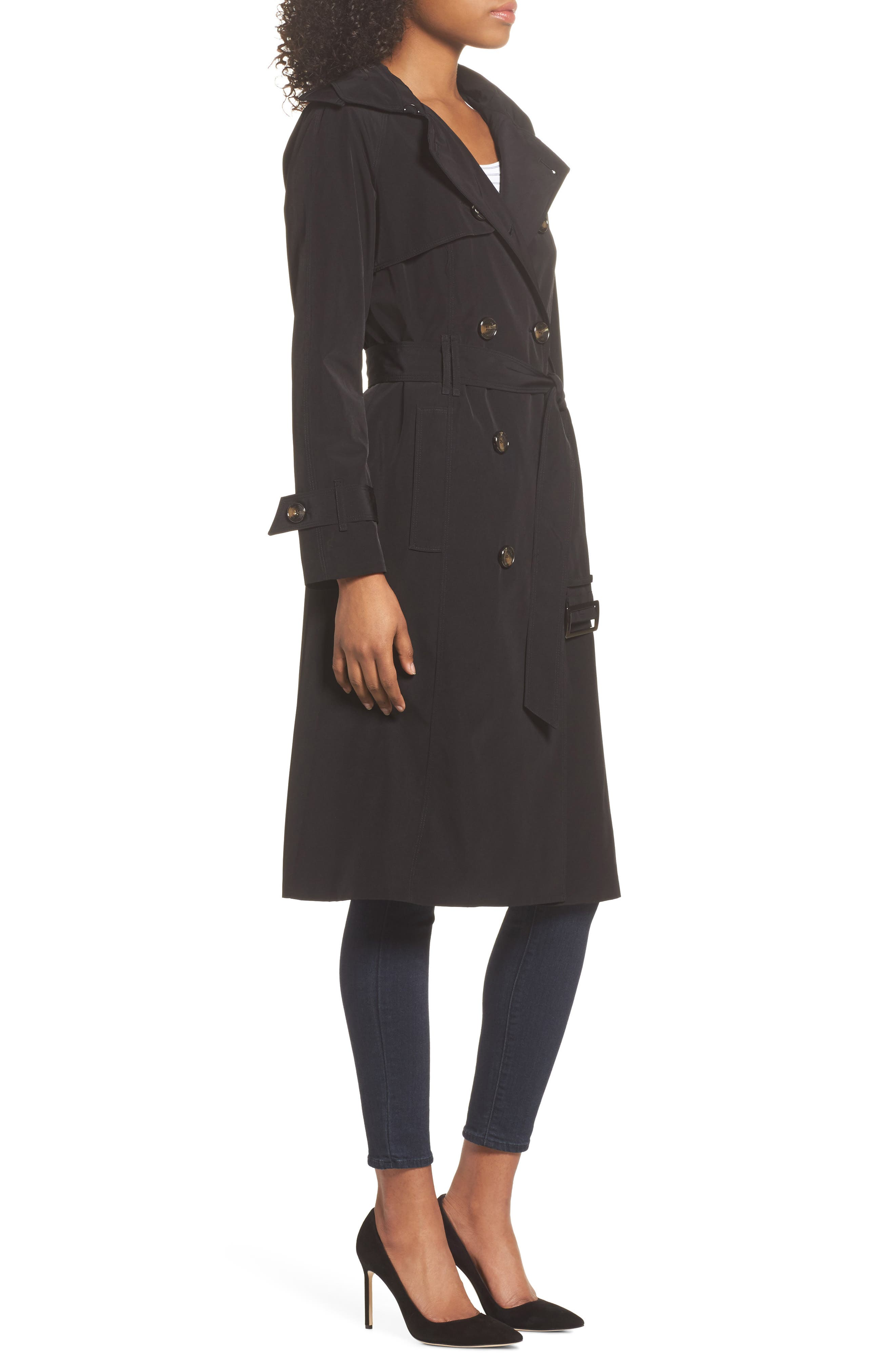 Long Double Breasted Trench Coat,                             Alternate thumbnail 3, color,                             BLACK