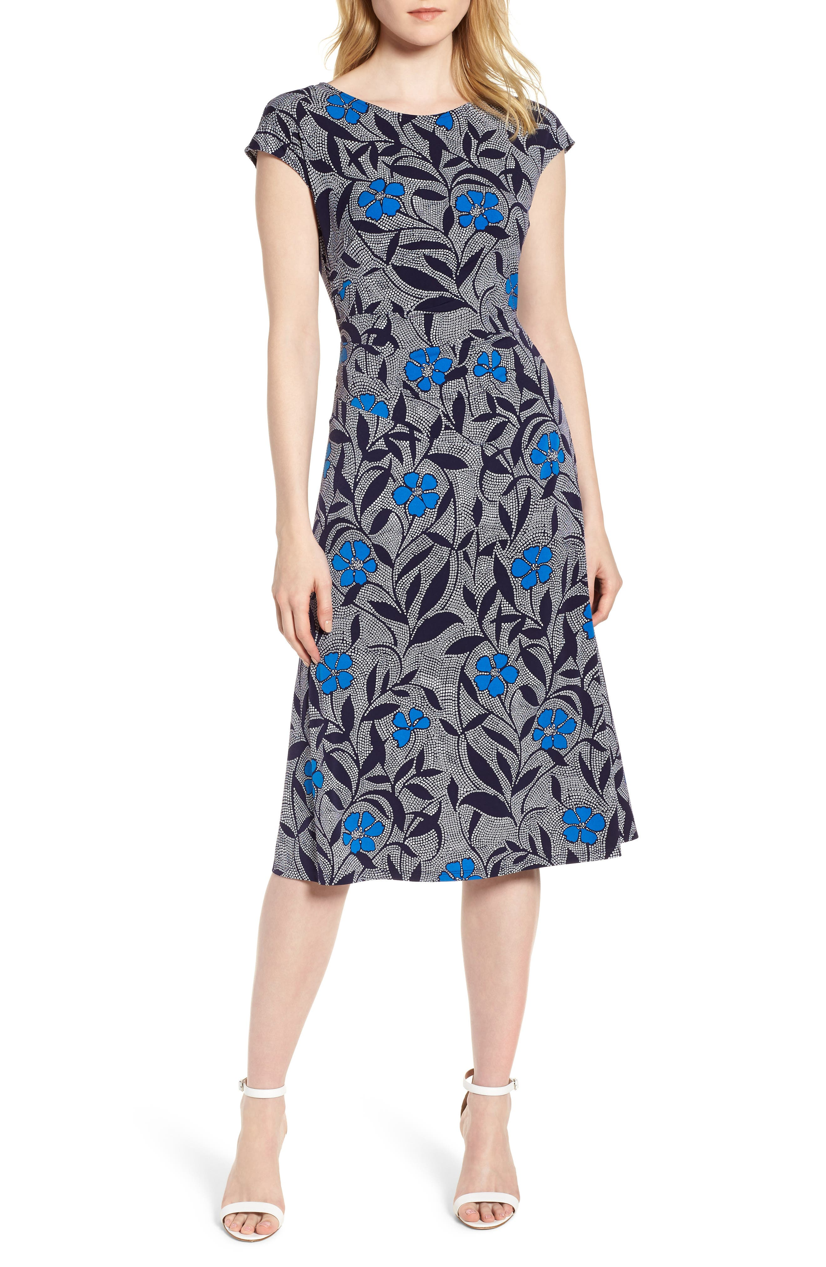 Pacific Blooms Stretch Jersey Ruched Dress,                         Main,                         color,