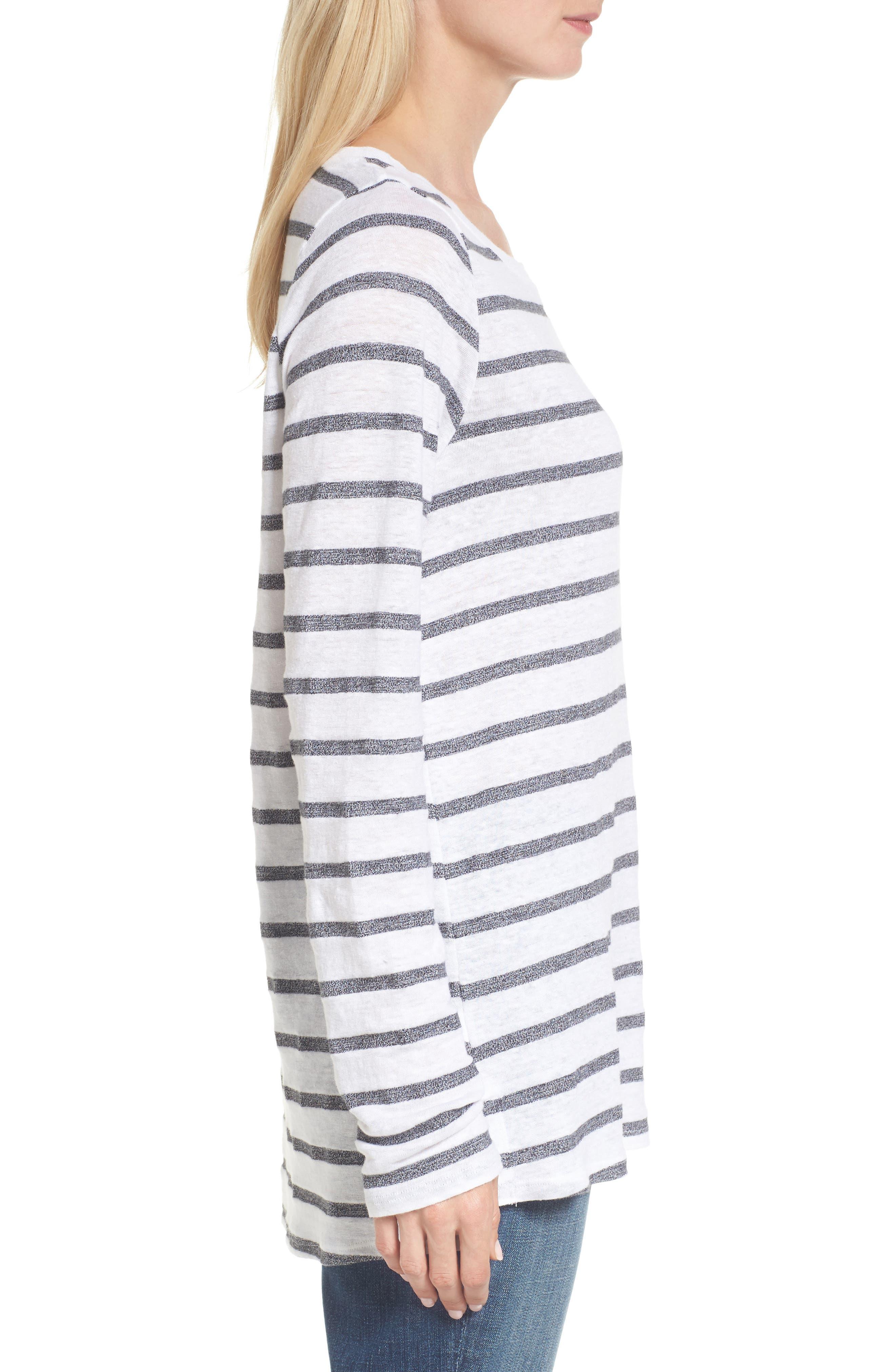 Stripe Linen Blend Ballet Neck Top,                             Alternate thumbnail 3, color,                             033