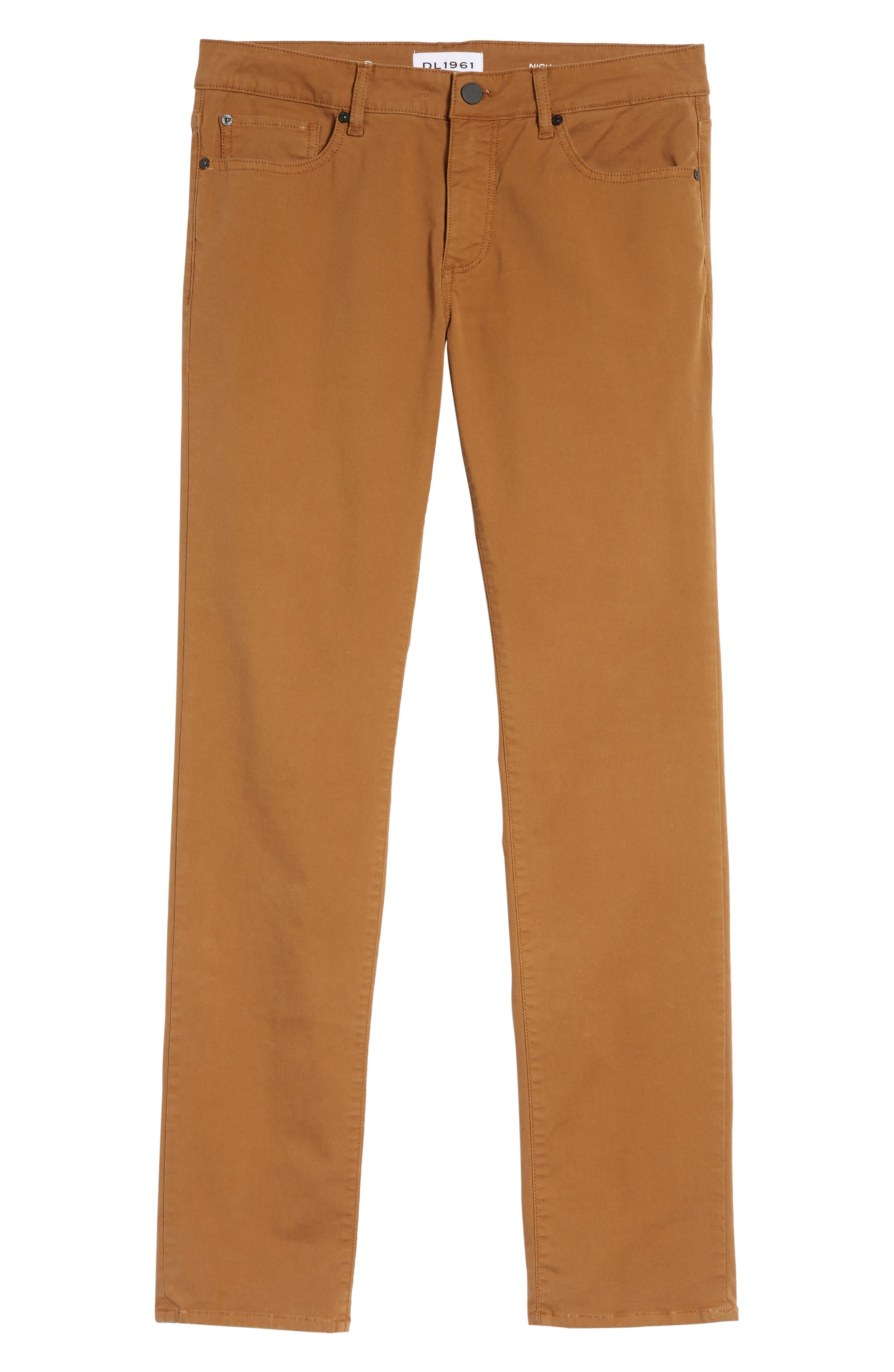 Nick Slim Fit Flat Front Pants,                             Alternate thumbnail 6, color,                             SIENNA