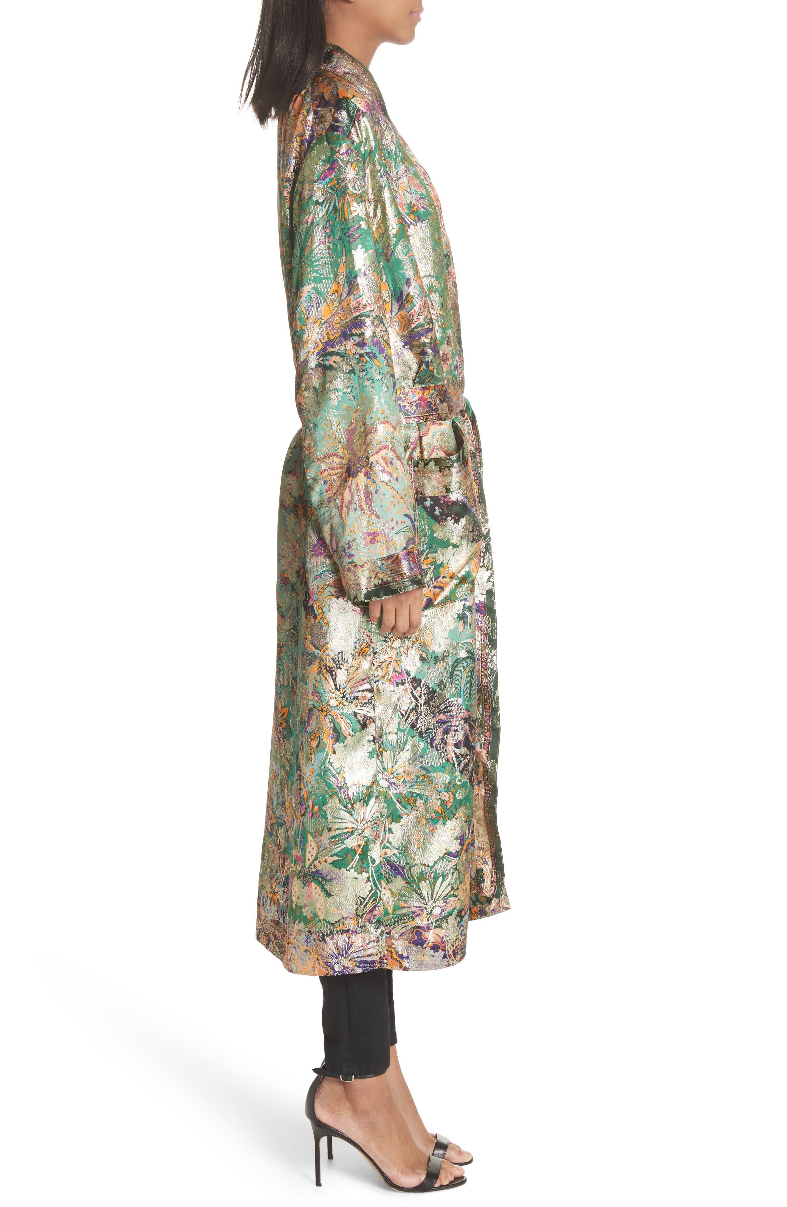 Tie Waist Silk Blend Metallic Jacquard Jacket,                             Alternate thumbnail 3, color,