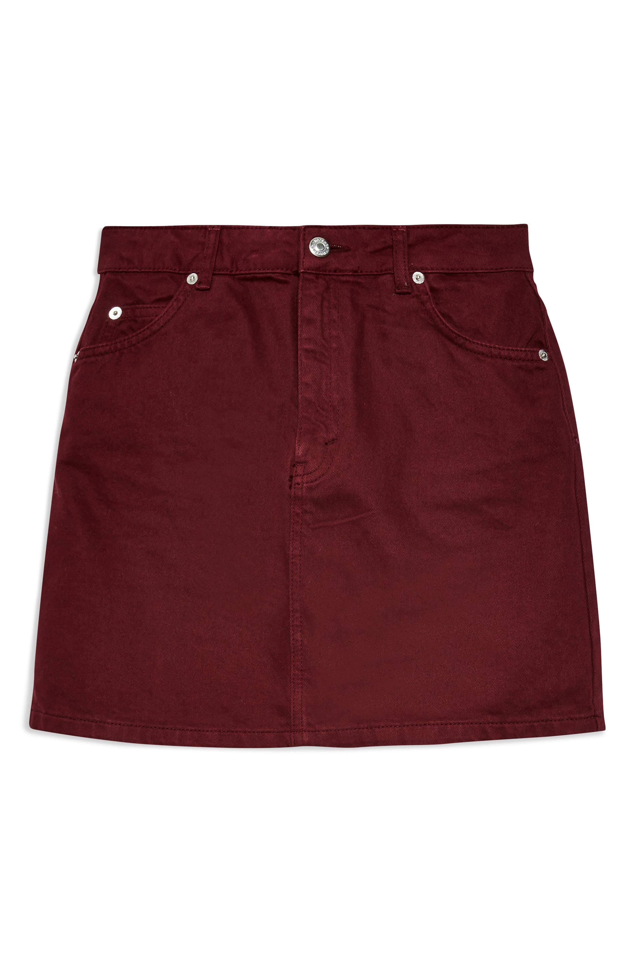 Bordeaux Denim Skirt,                             Alternate thumbnail 4, color,                             BURGUNDY