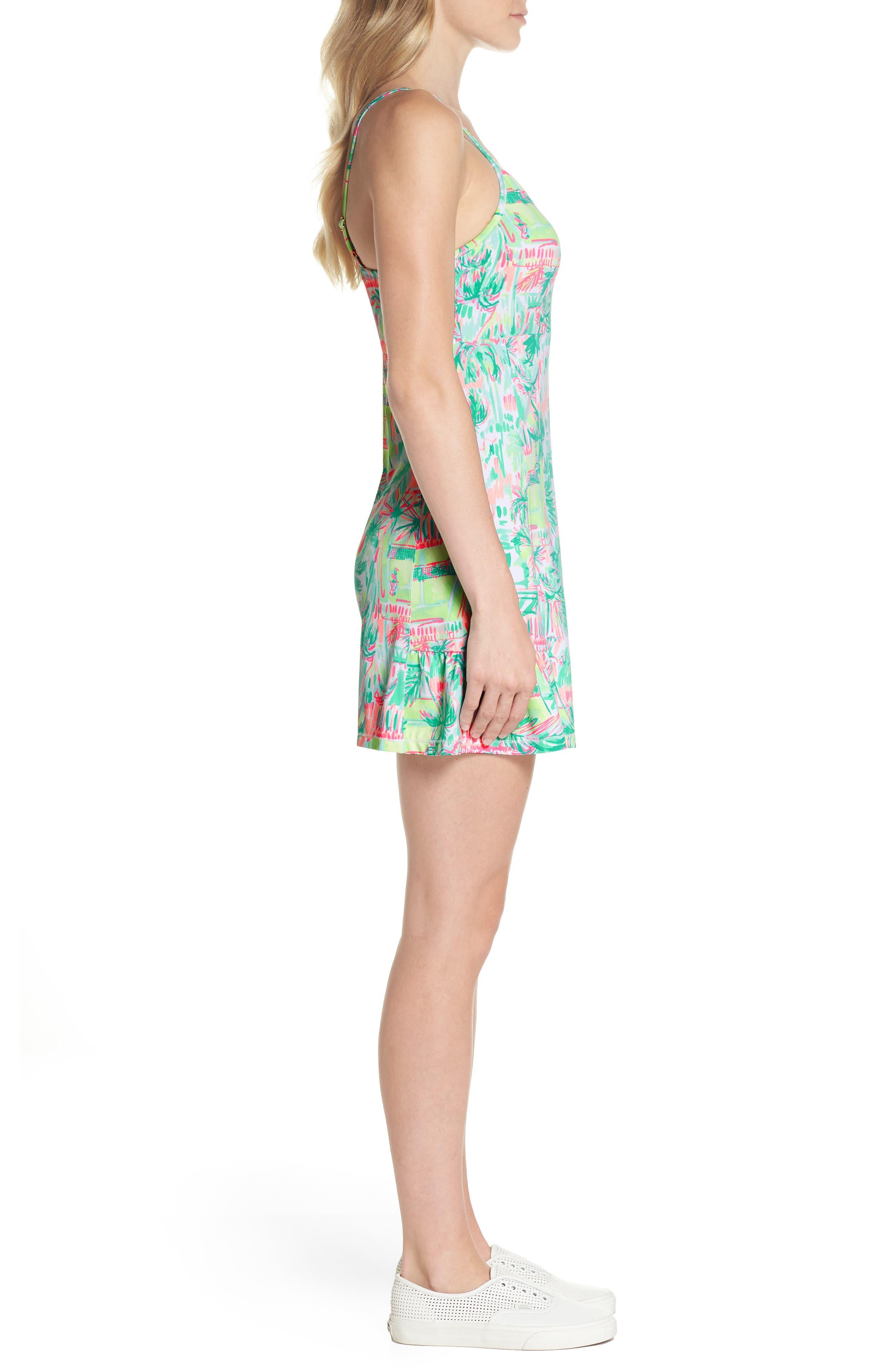 Adelia UPF 50+ Tennis Dress,                             Alternate thumbnail 3, color,                             MULTI PERFECT MATCH