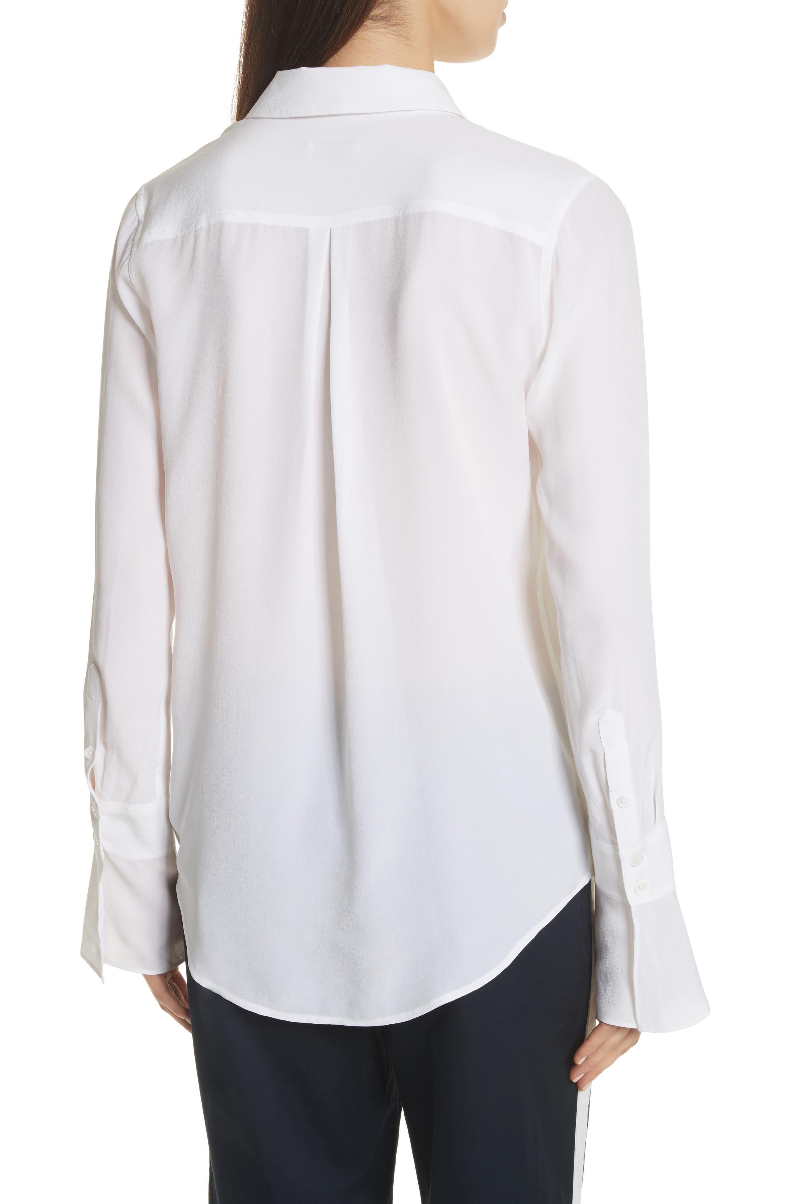 Daphine Bell Cuff Silk Shirt,                             Alternate thumbnail 4, color,