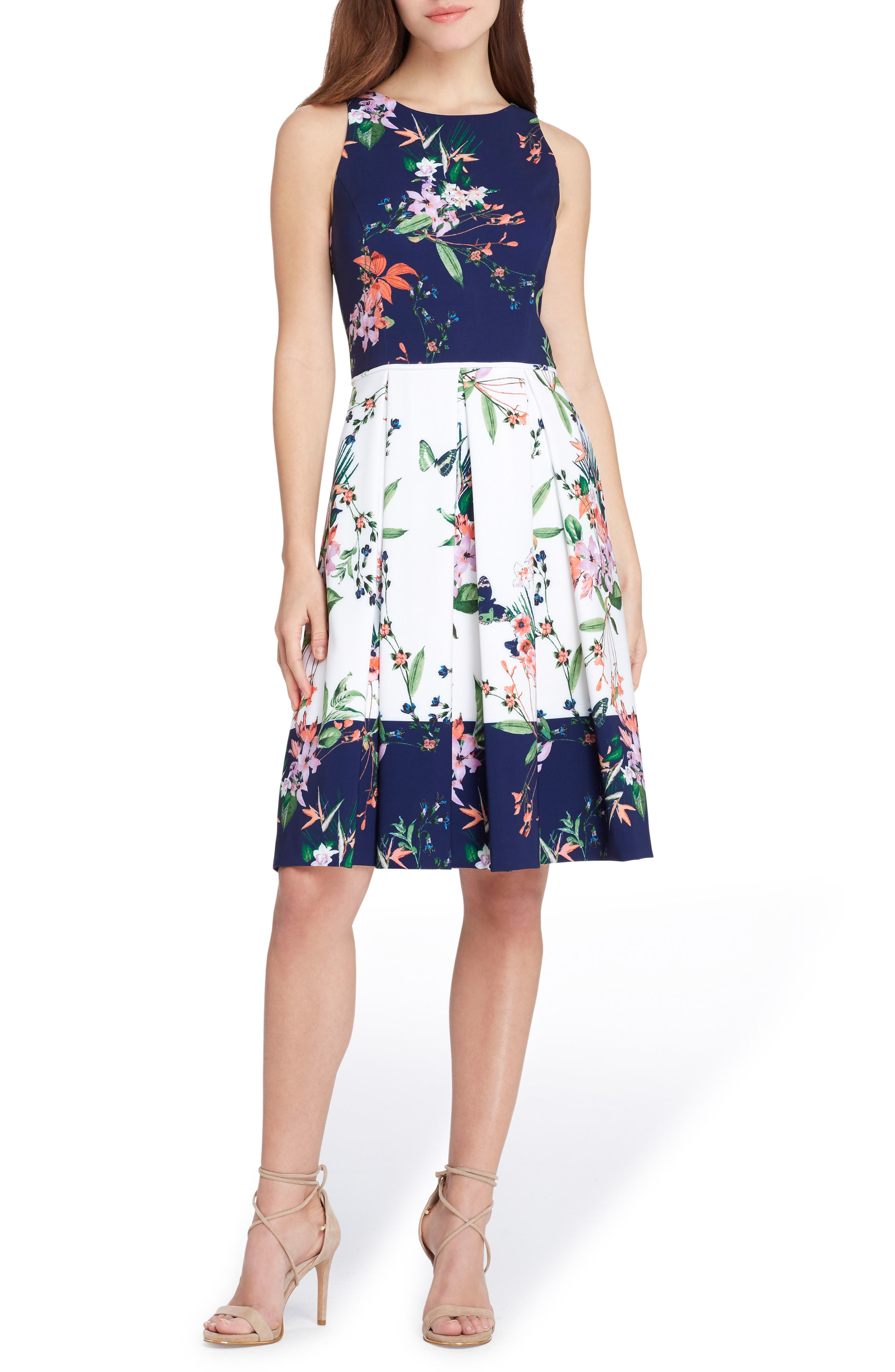 Colorblock Floral Crepe Fit & Flare Dress,                             Main thumbnail 1, color,