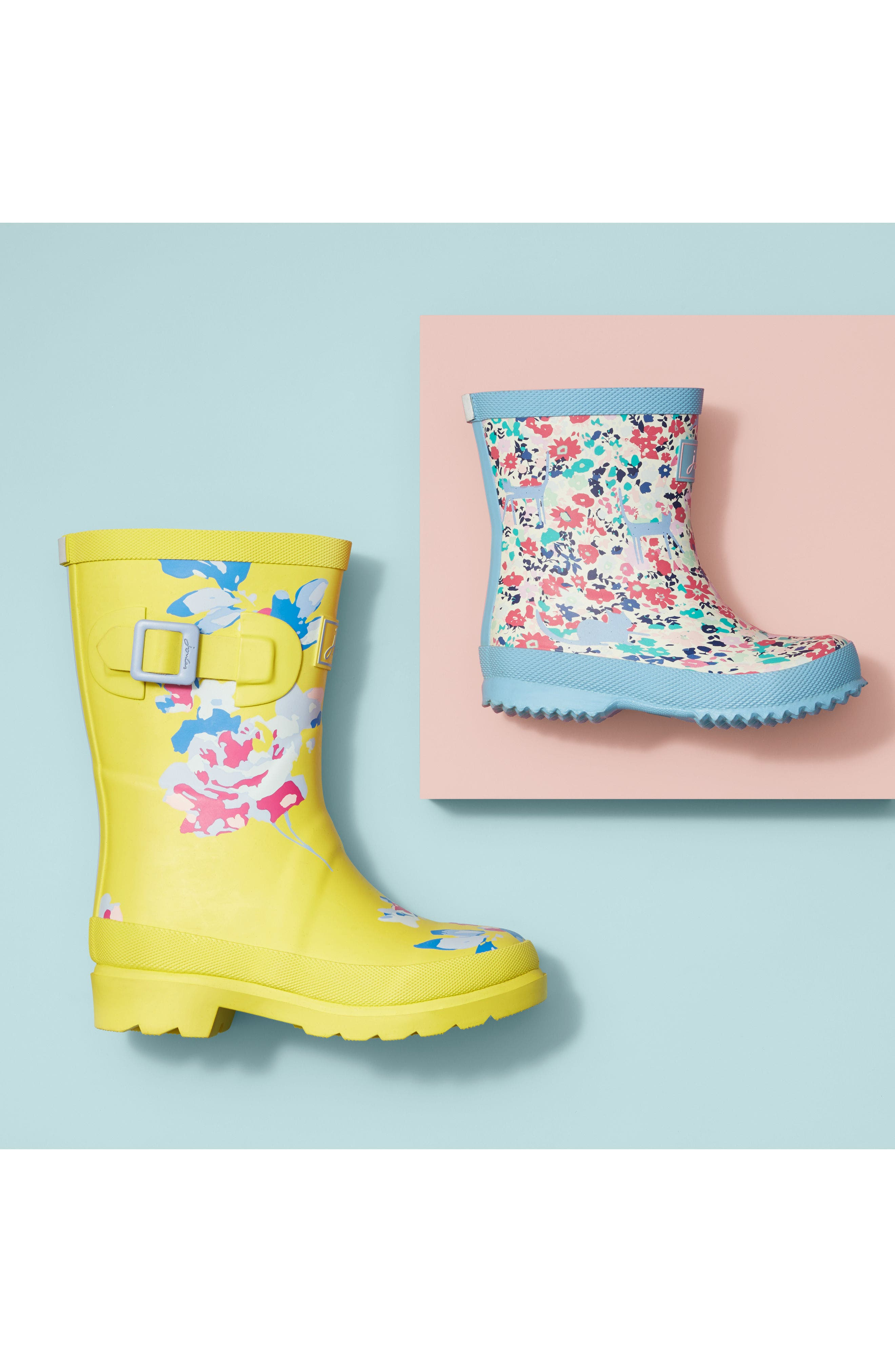 Mid Height Print Welly Waterproof Rain Boot,                             Alternate thumbnail 9, color,                             BLUE RAINBOW