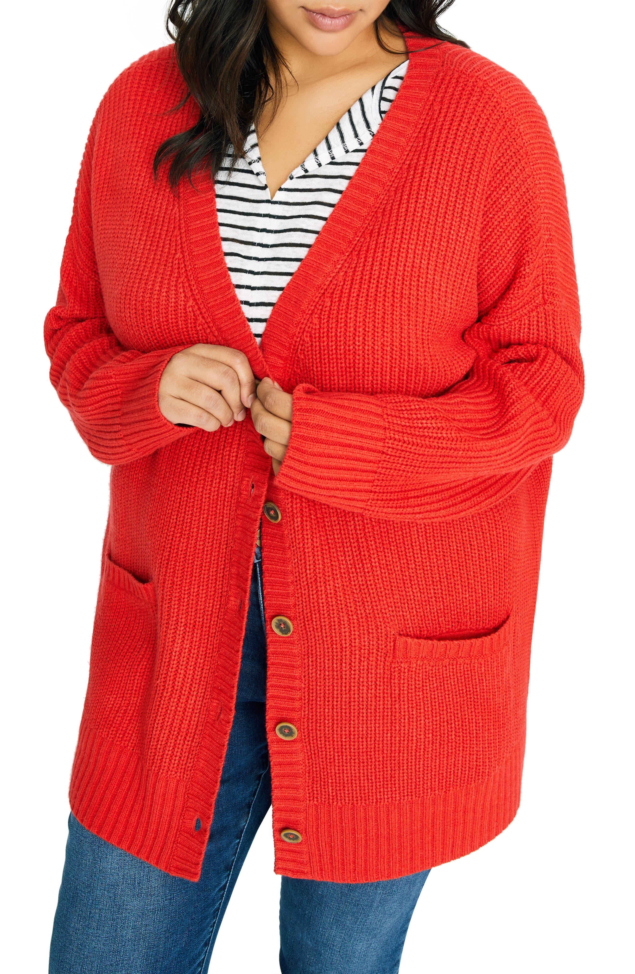 Plus Size Sanctuary Keep It Cozy Shaker Knit Cardigan, Red