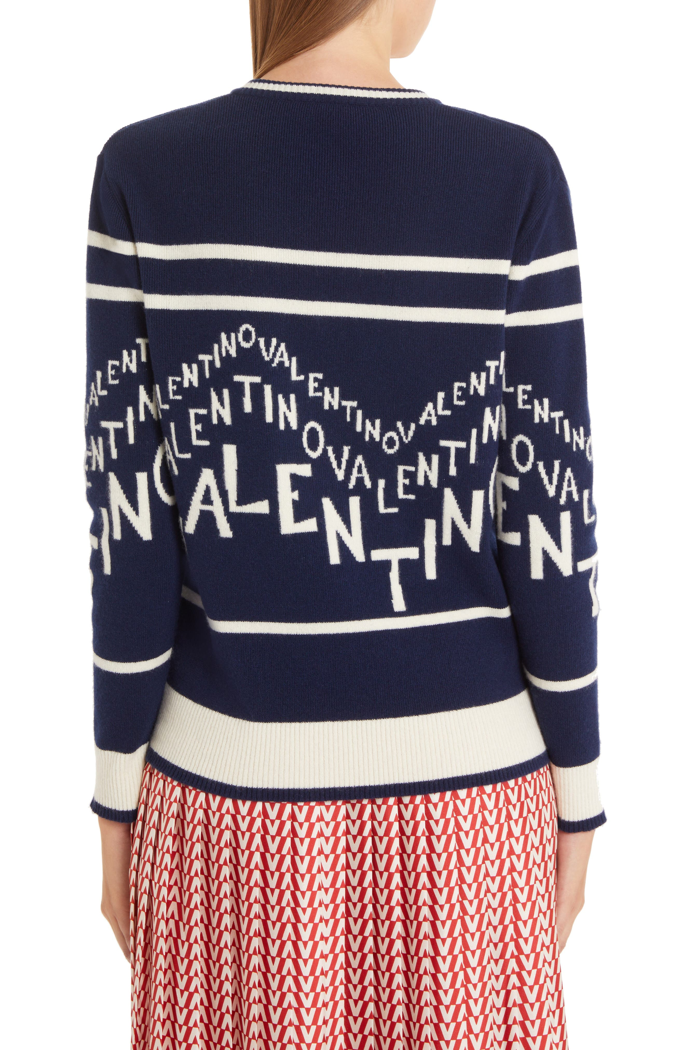 VALENTINO,                             Chevron Logo Wool & Cashmere Sweater,                             Alternate thumbnail 2, color,                             ALMOND/ PURE BLUE
