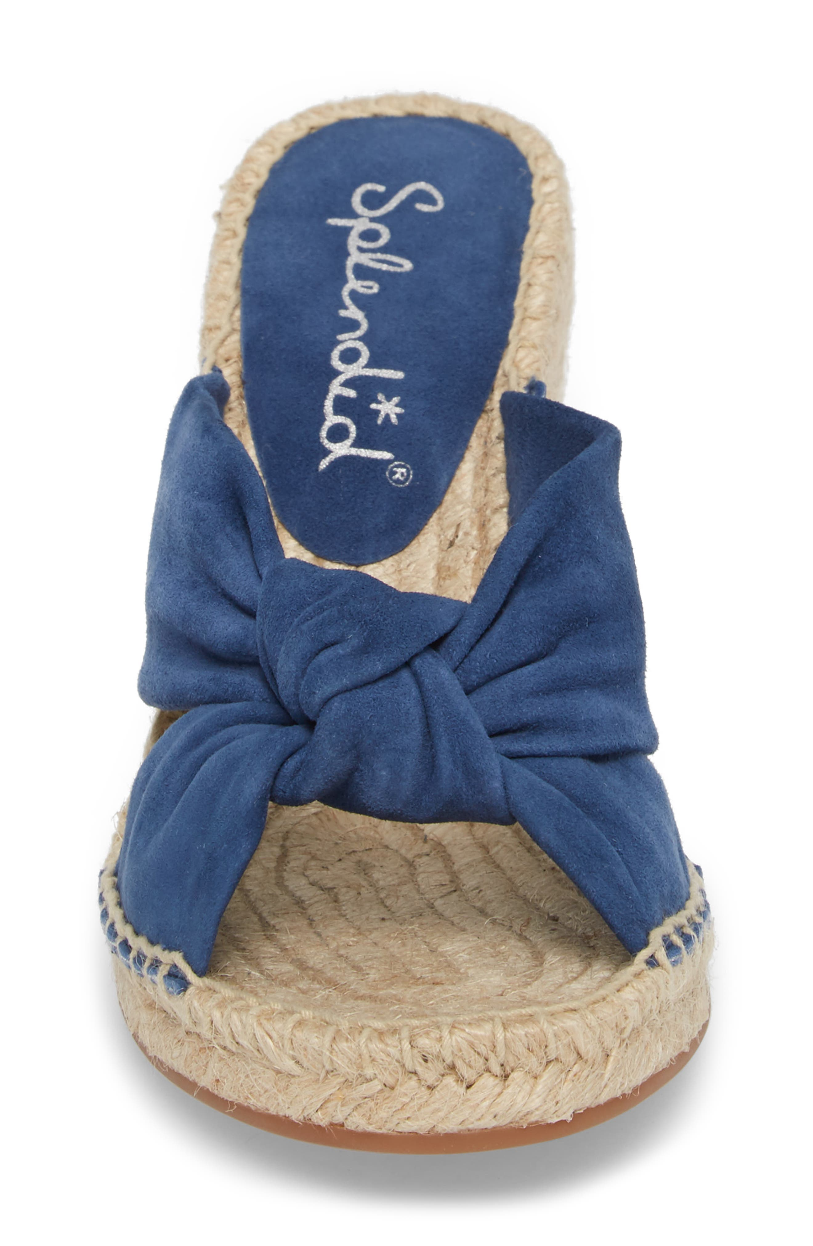 Bautista Knotted Wedge Sandal,                             Alternate thumbnail 4, color,                             DENIM FABRIC