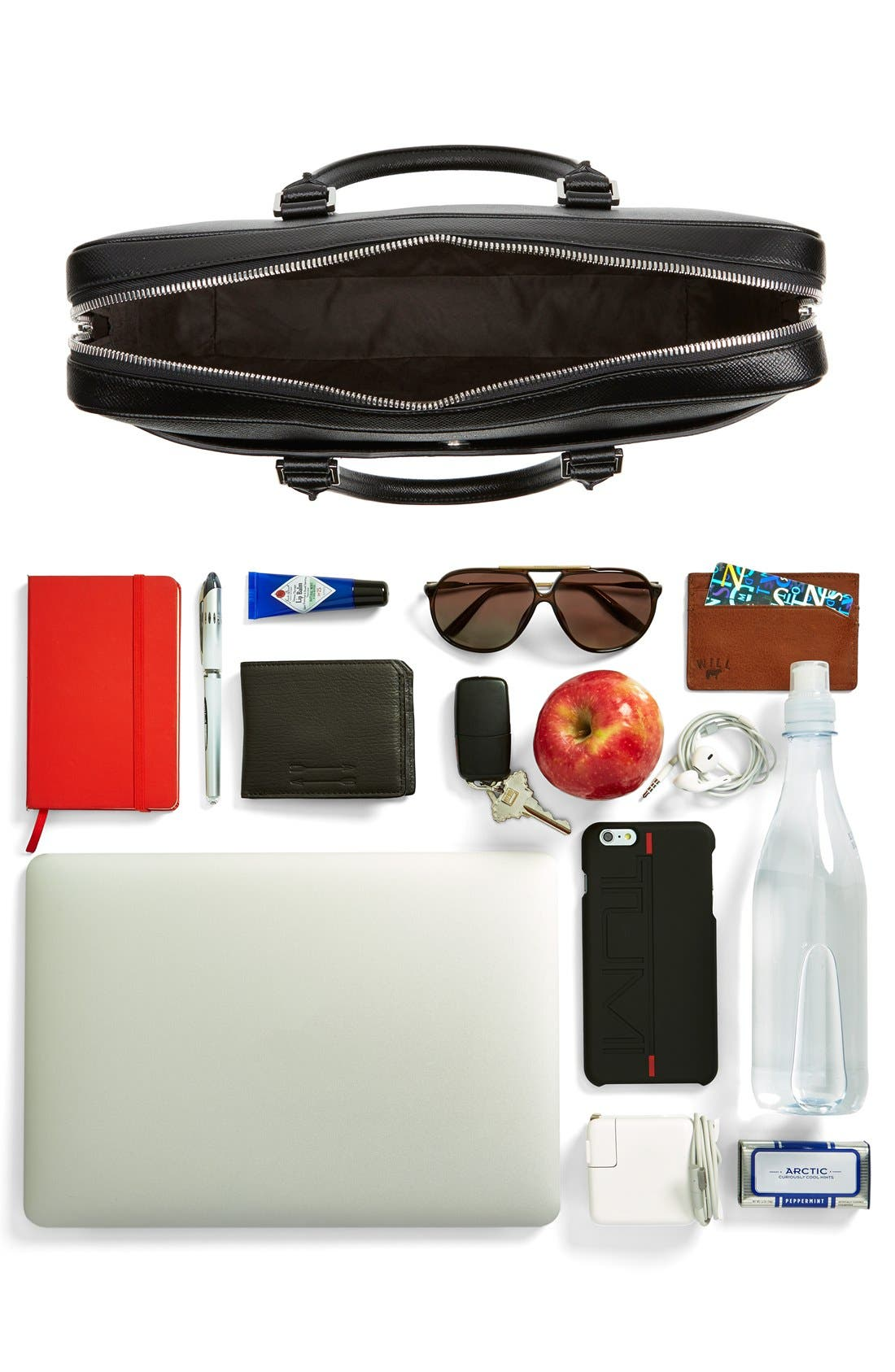 'Signature' Leather Briefcase,                             Alternate thumbnail 4, color,                             001