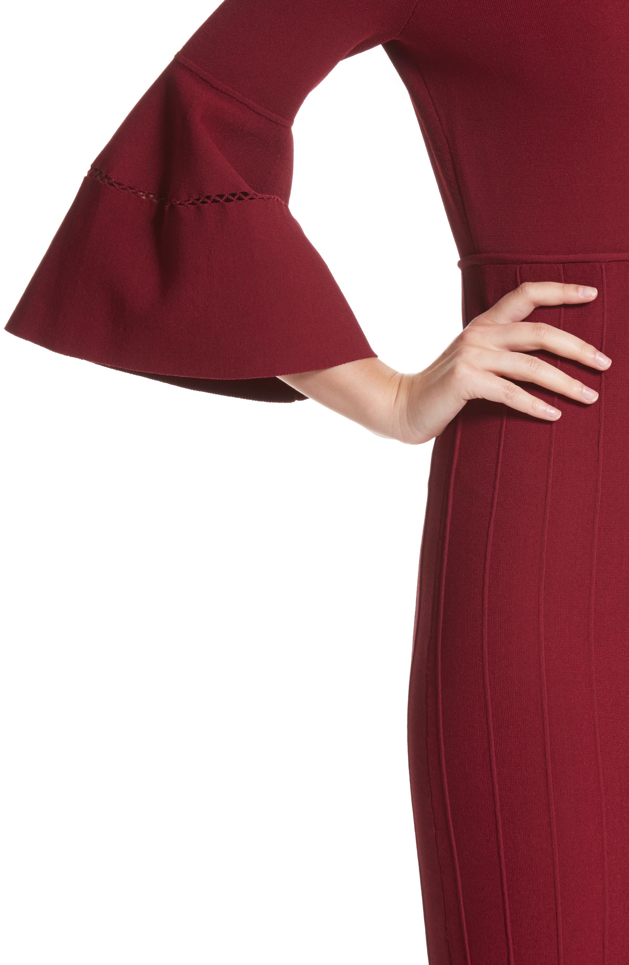 Knit Bell Sleeve Dress,                             Alternate thumbnail 4, color,
