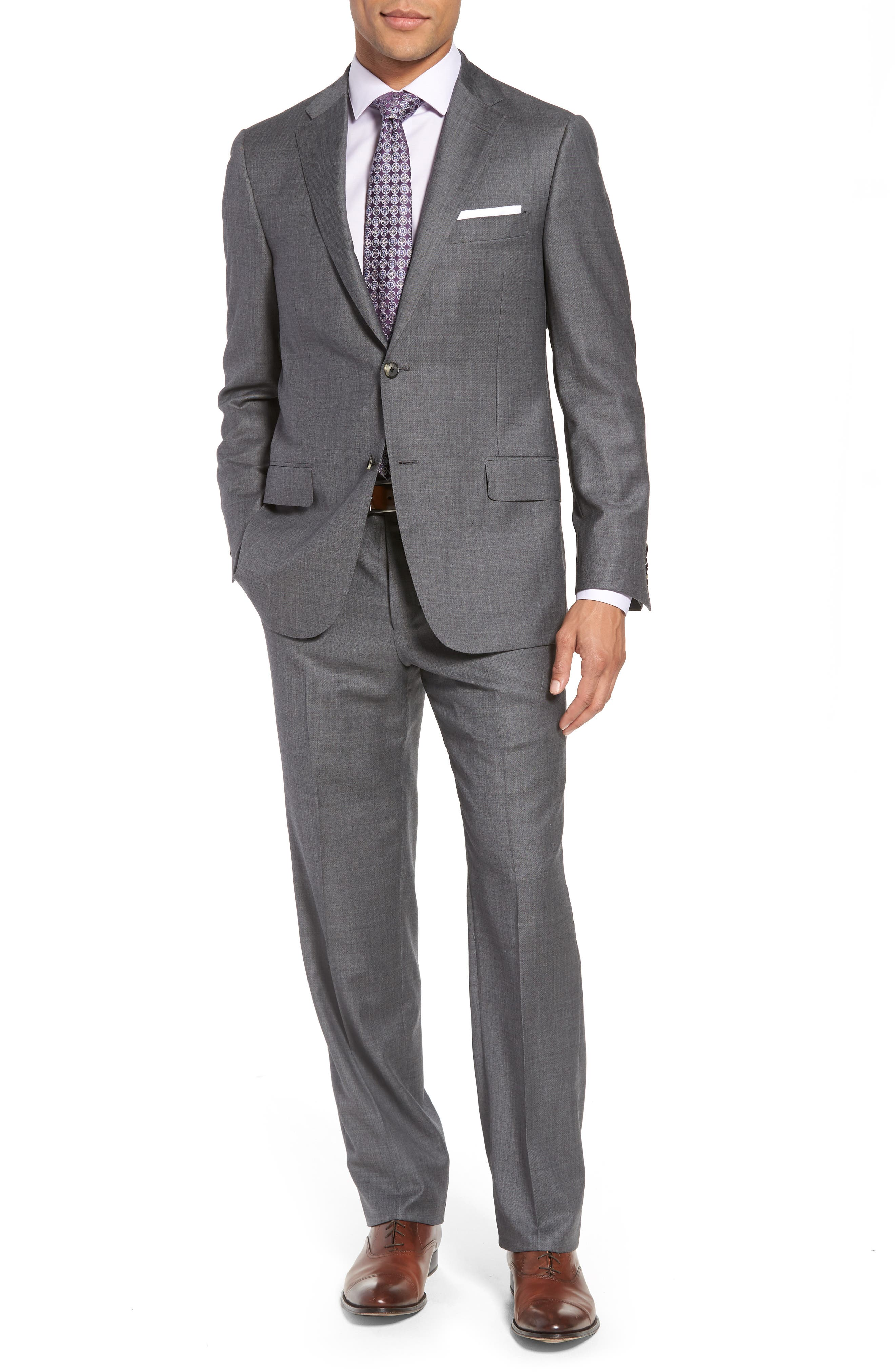 HICKEY FREEMAN Classic B Fit Solid Wool Suit, Main, color, 020