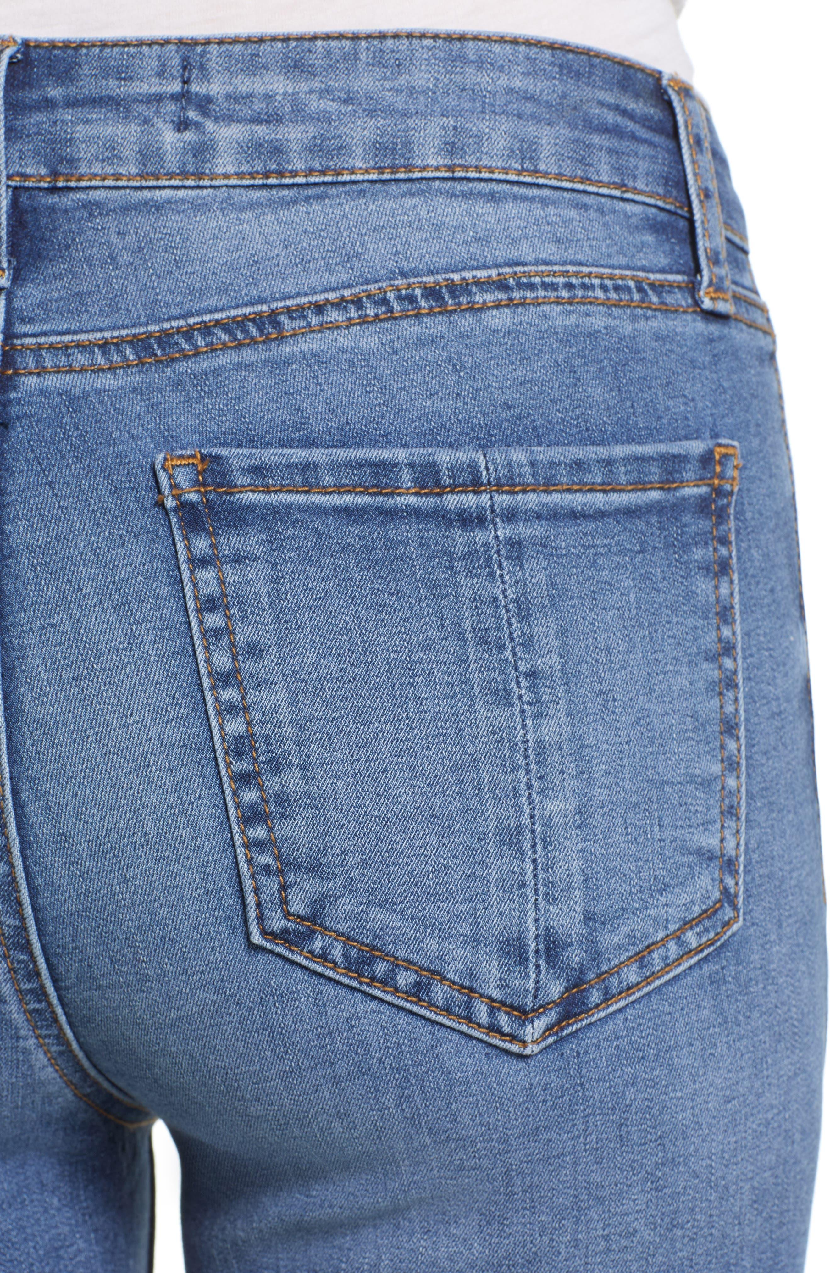 Crop Skinny Jeans,                             Alternate thumbnail 4, color,                             MEDIUM WASH