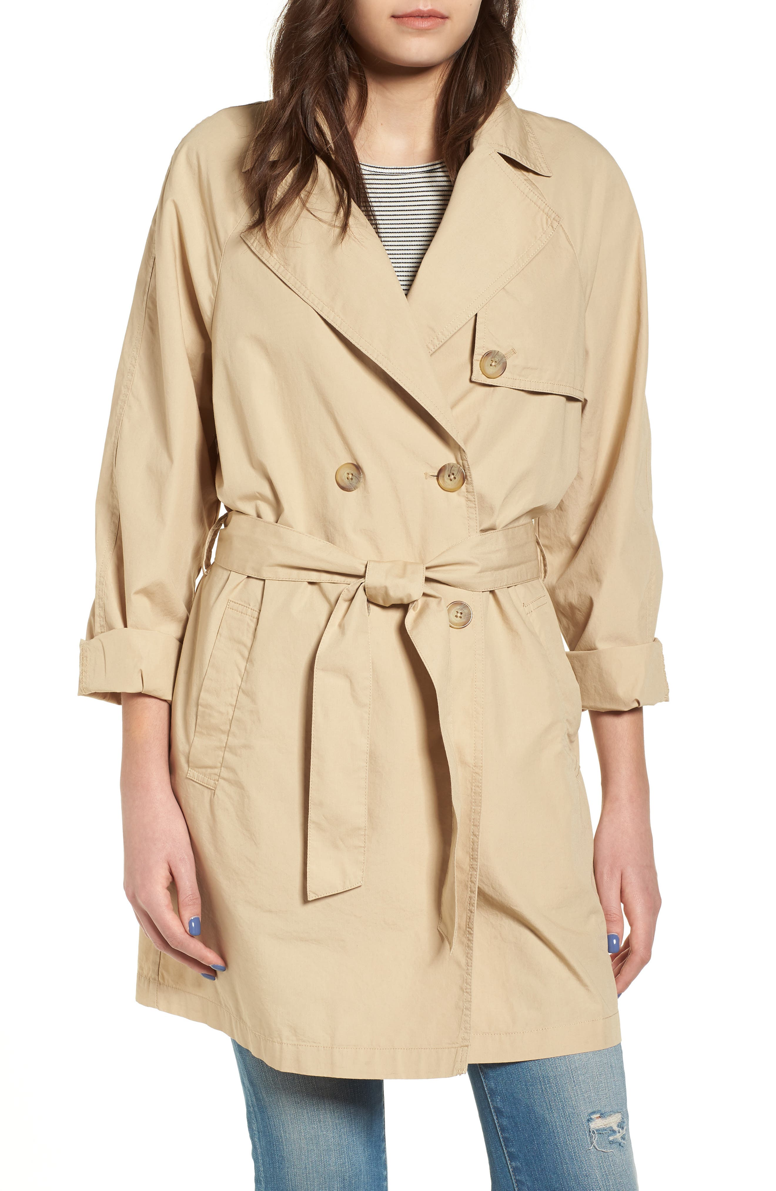Double Breasted Belted Trench Coat,                             Alternate thumbnail 4, color,                             260
