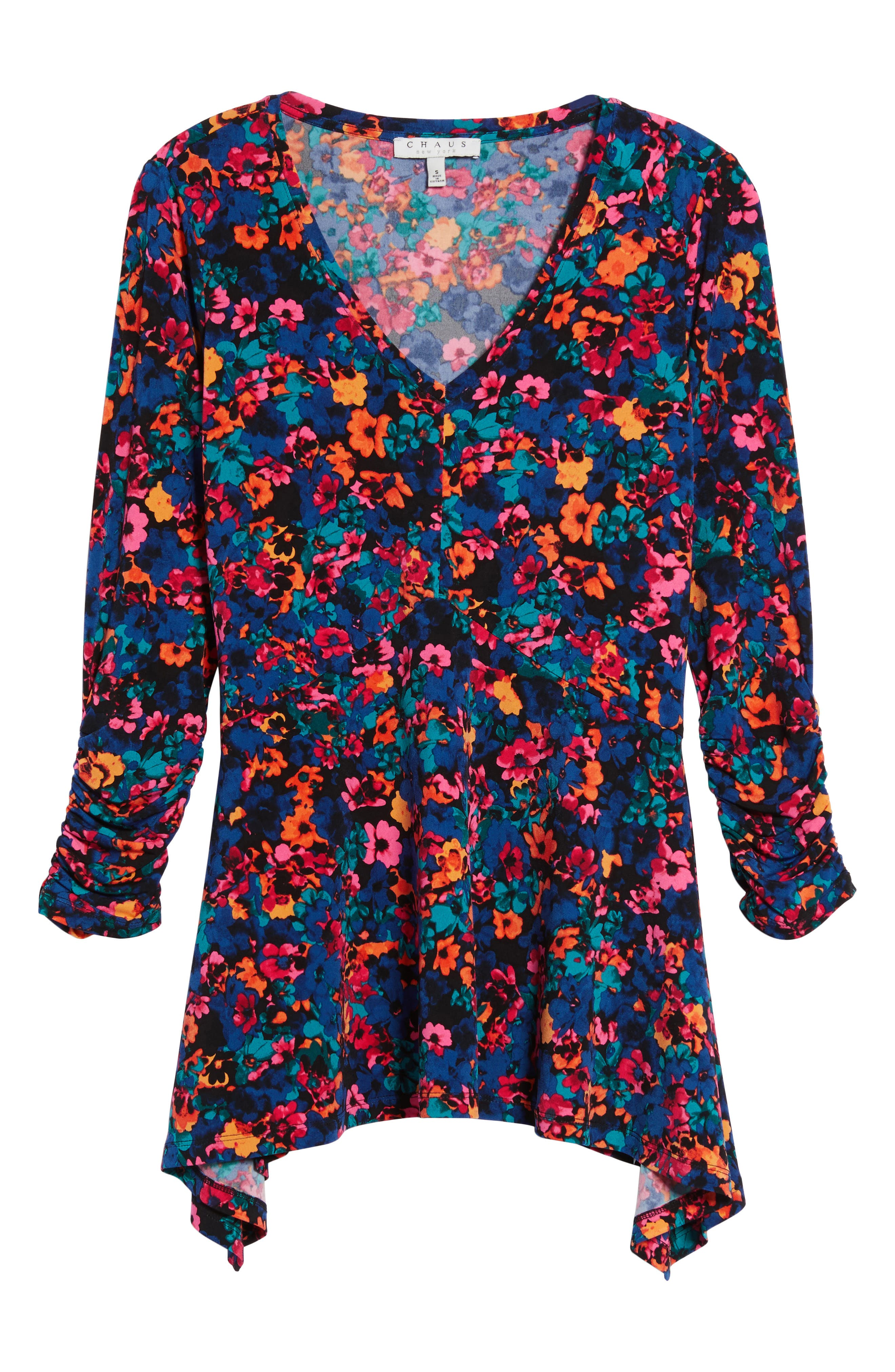 Floral Field Ruched Handkerchief Top,                             Alternate thumbnail 6, color,