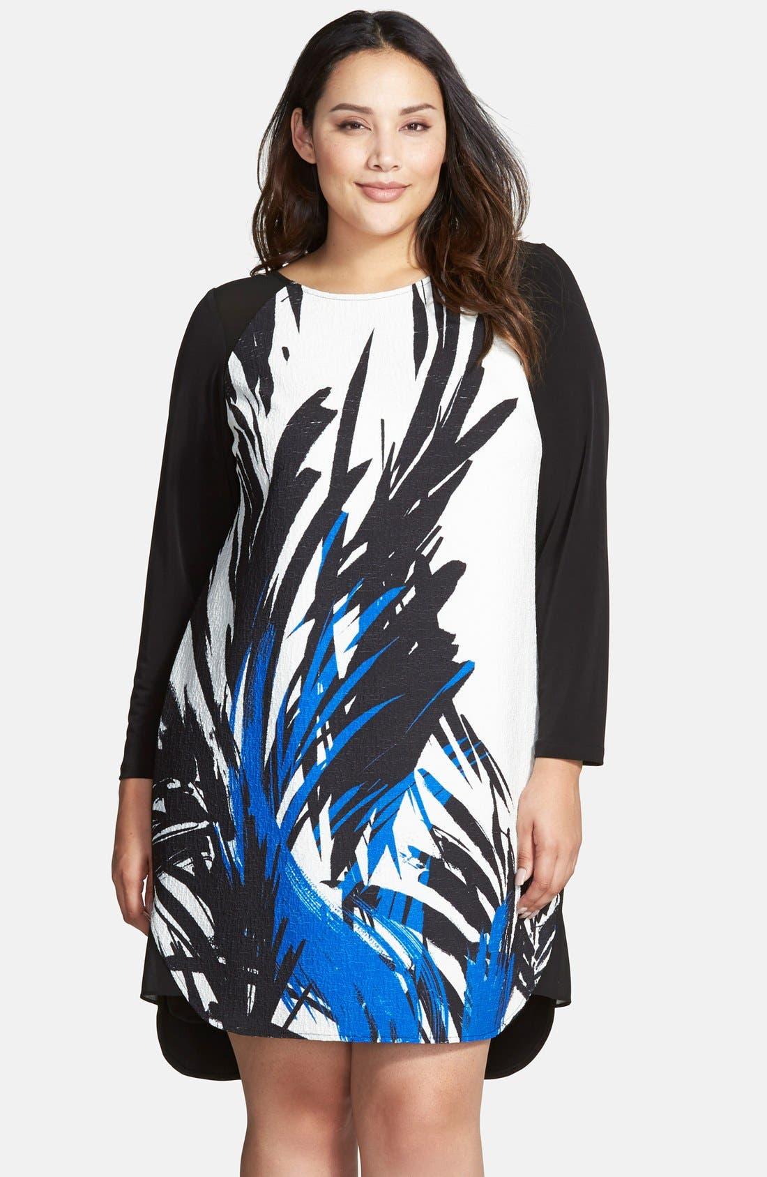 Print Front Matte Jersey Shift Dress,                         Main,                         color, 001