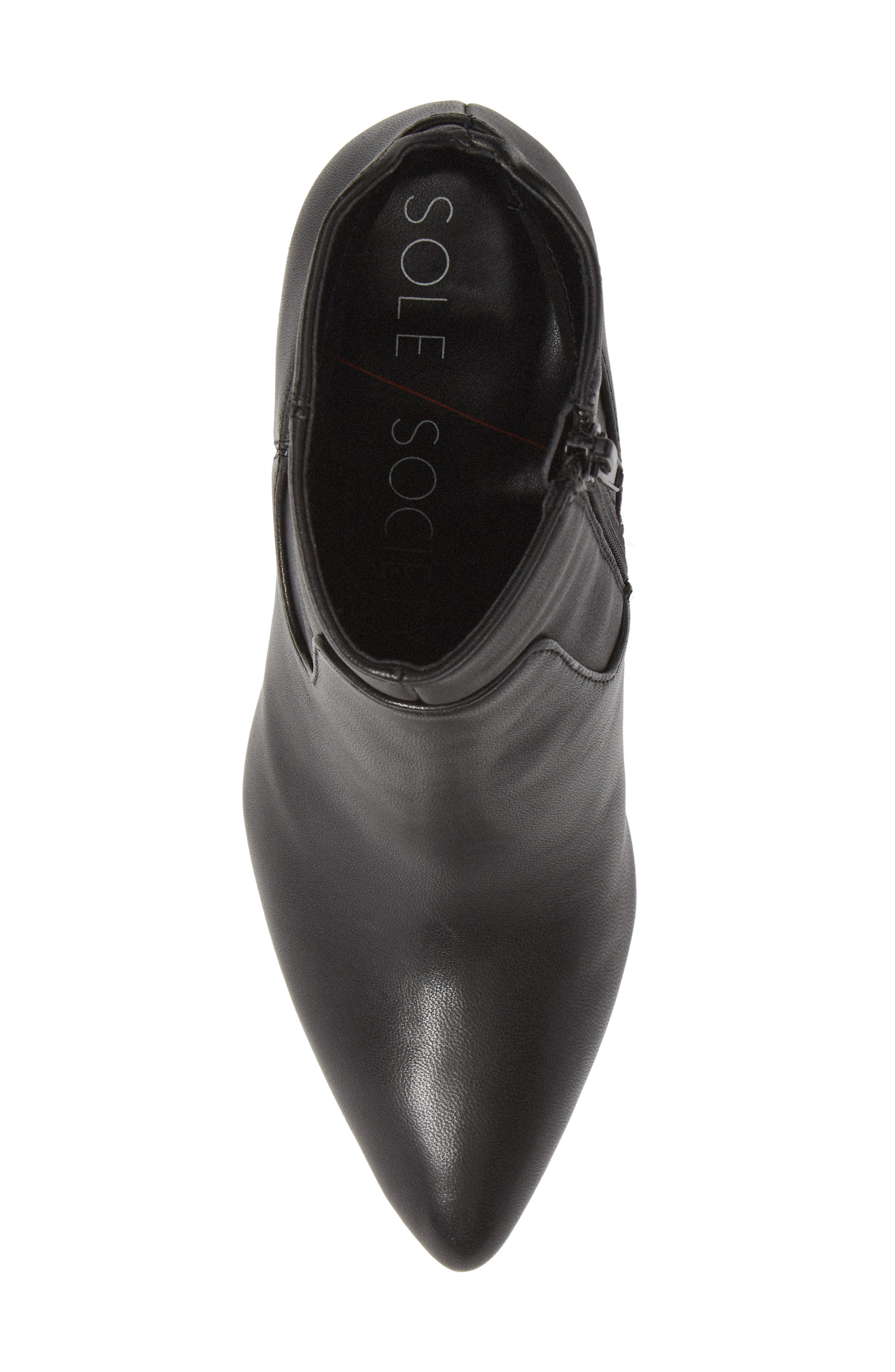 SOLE SOCIETY,                             Raphaela Bootie,                             Alternate thumbnail 5, color,                             BLACK LEATHER