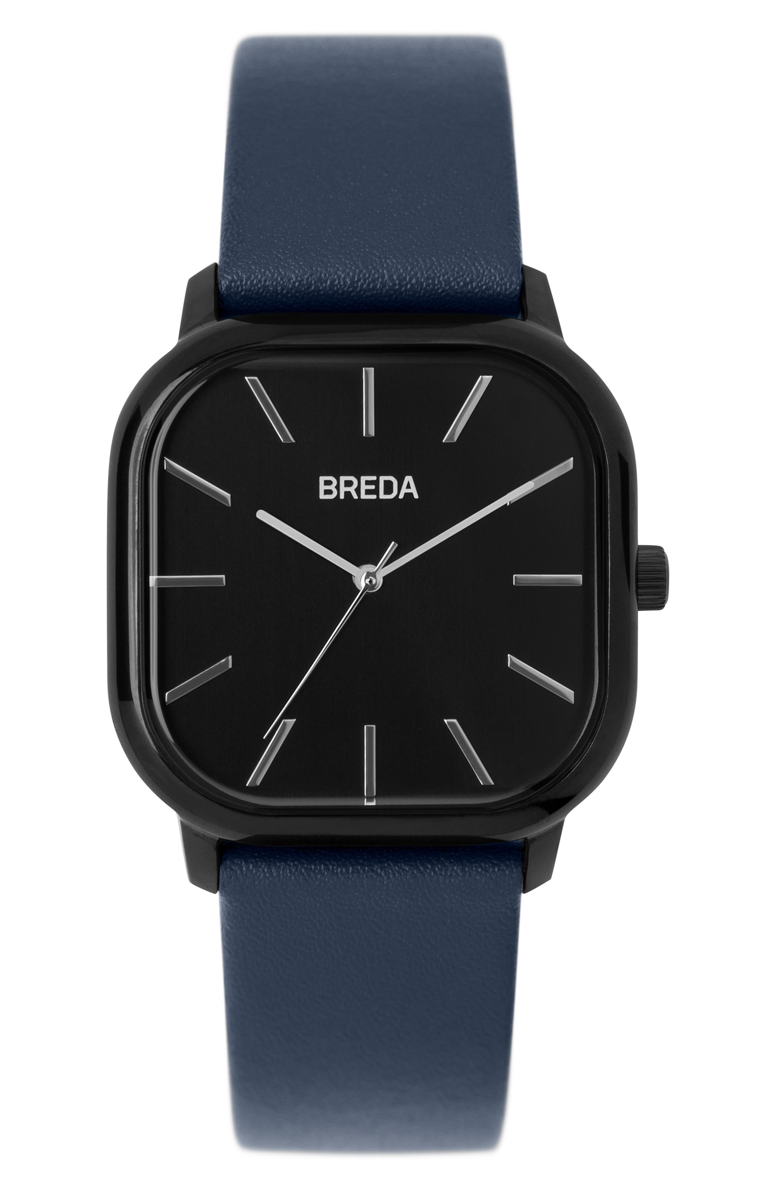 Visser Square Leather Strap Watch, 35mm,                             Main thumbnail 1, color,                             BLUE/ BLACK