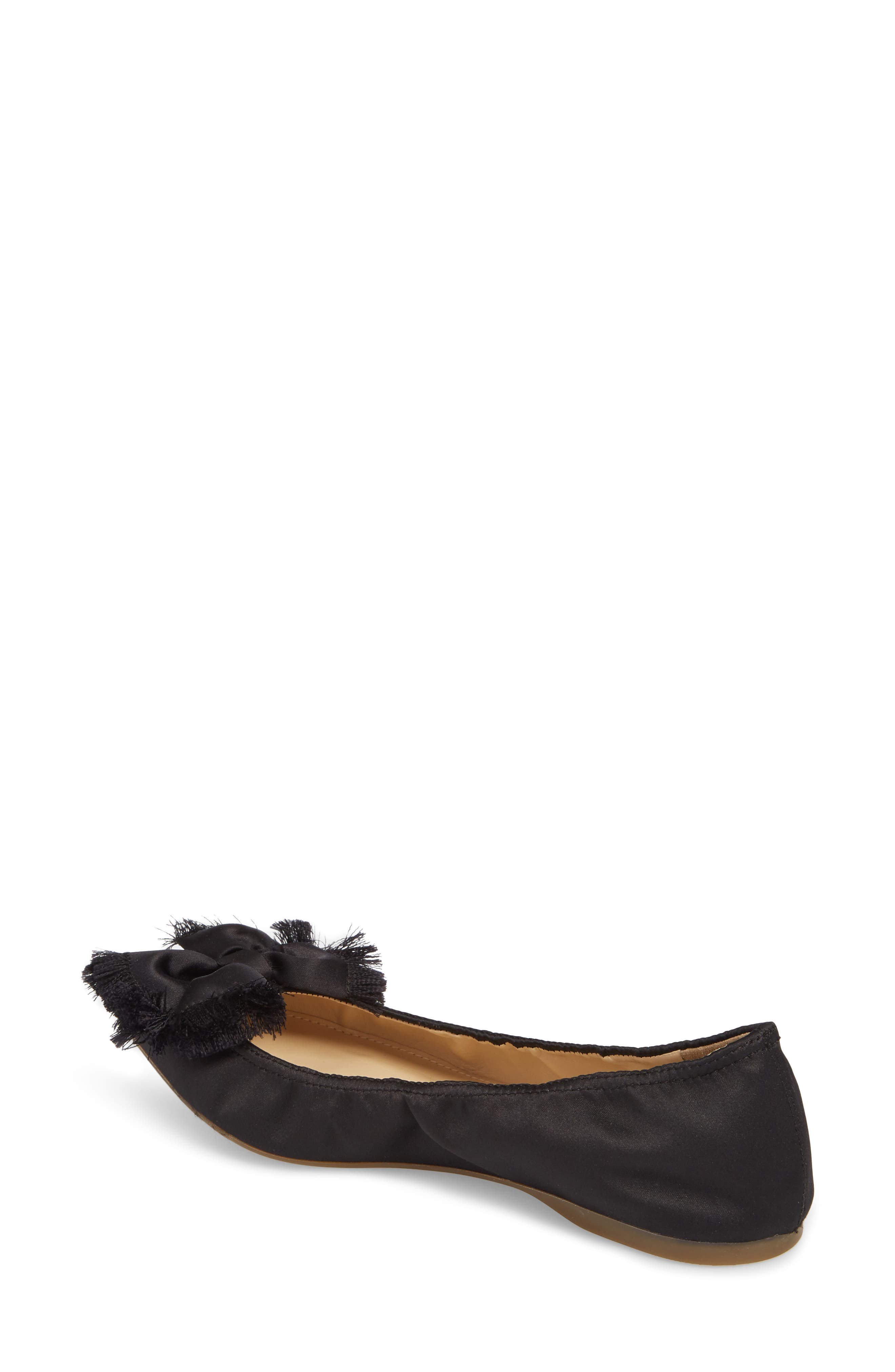 Lottie Frayed Bow Flat,                             Alternate thumbnail 2, color,                             001