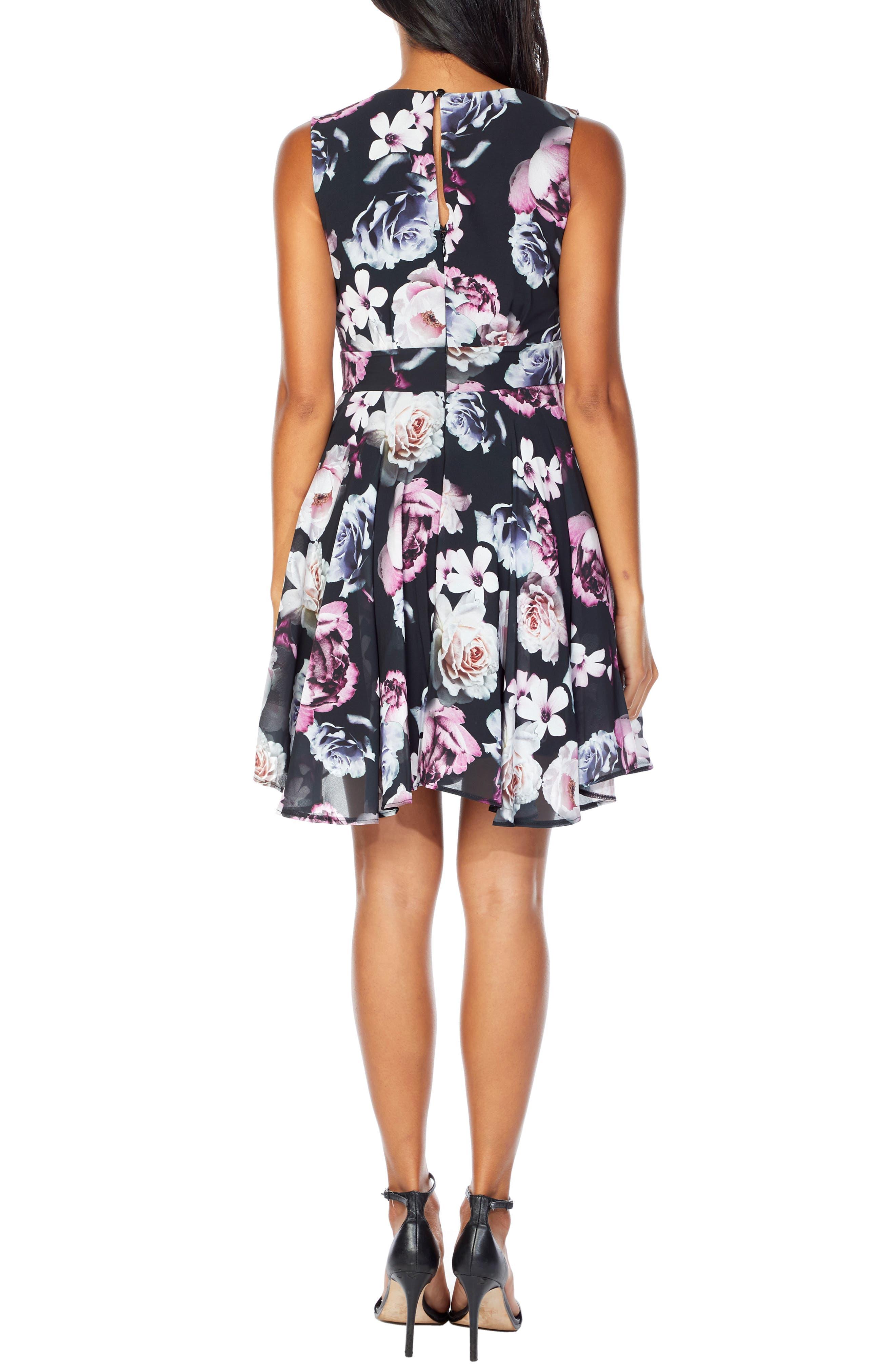 V-Neck Fit & Flare Dress,                             Alternate thumbnail 2, color,                             BLACK