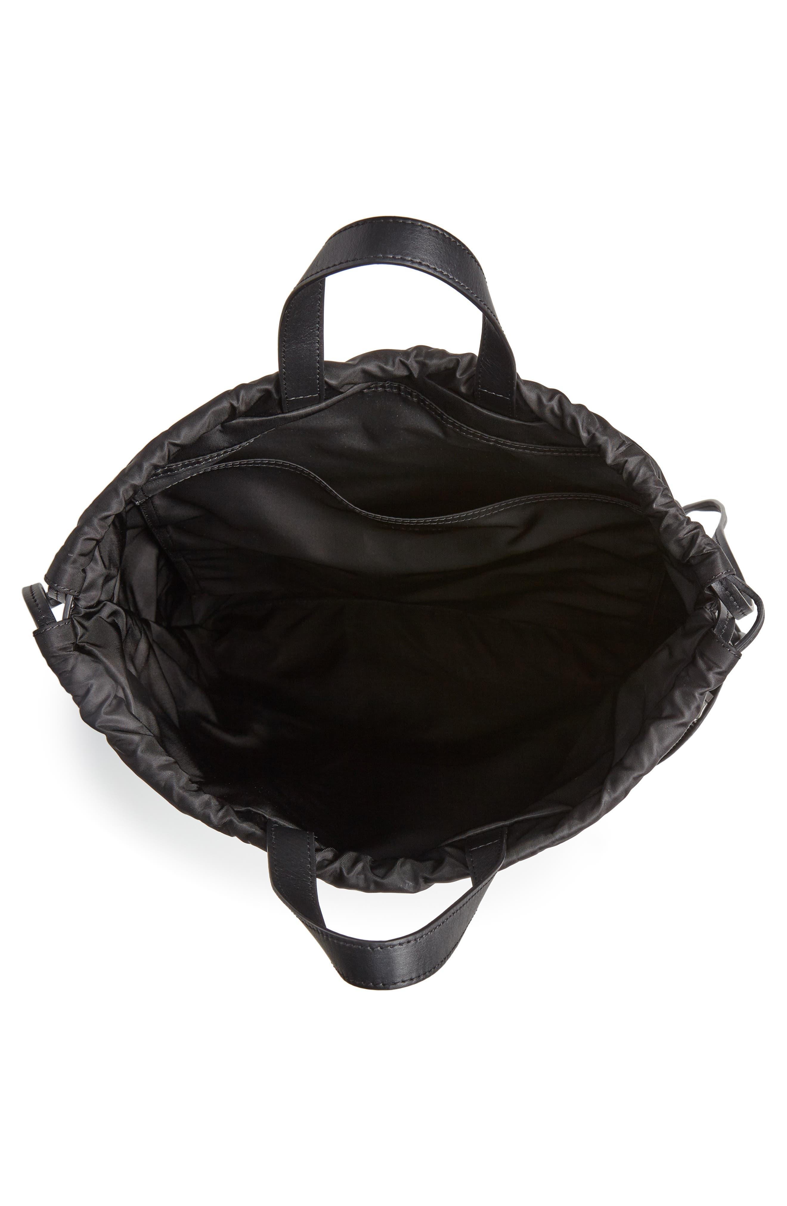 Drawstring Backpack,                             Alternate thumbnail 4, color,                             BLACK