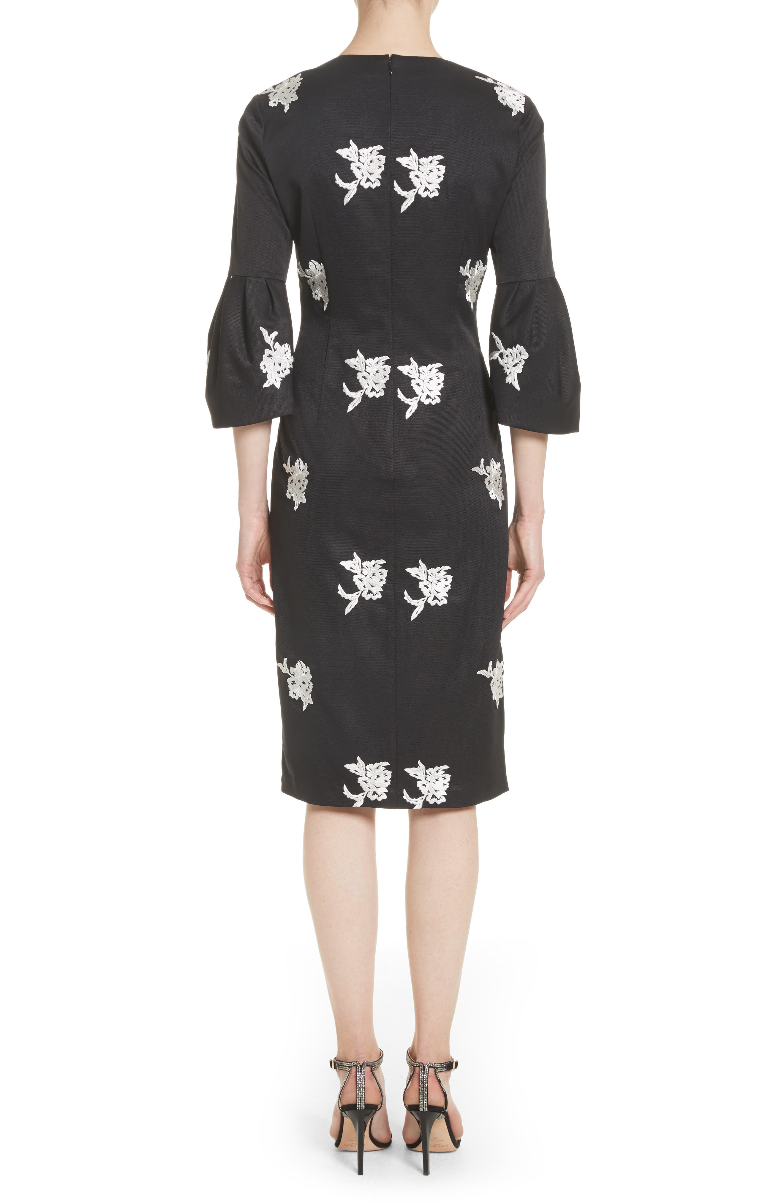 Noir Embroidered Bell Sleeve Sheath Dress,                             Alternate thumbnail 2, color,                             001