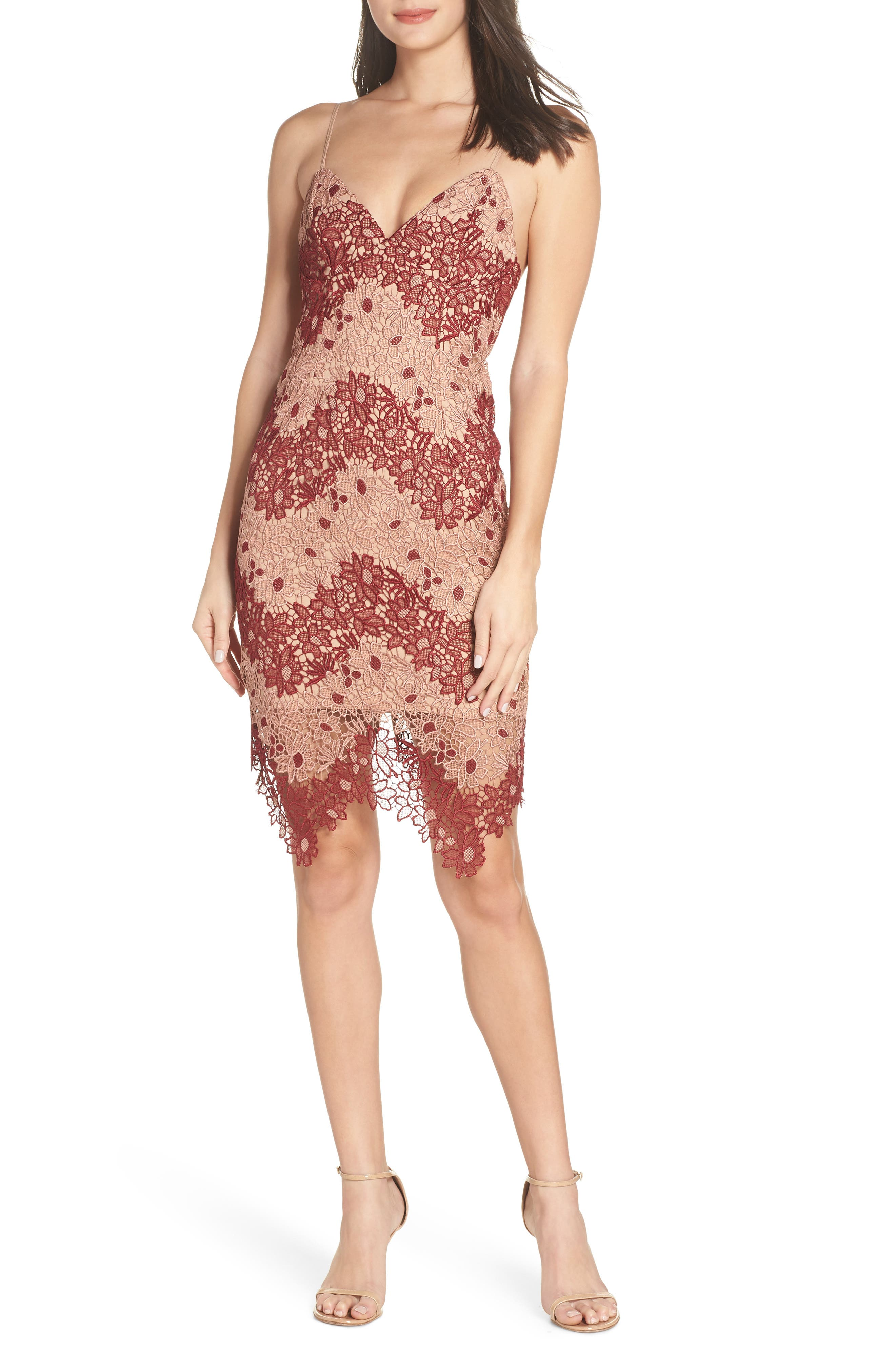 Bardot Two-Tone Lace Dress, Beige