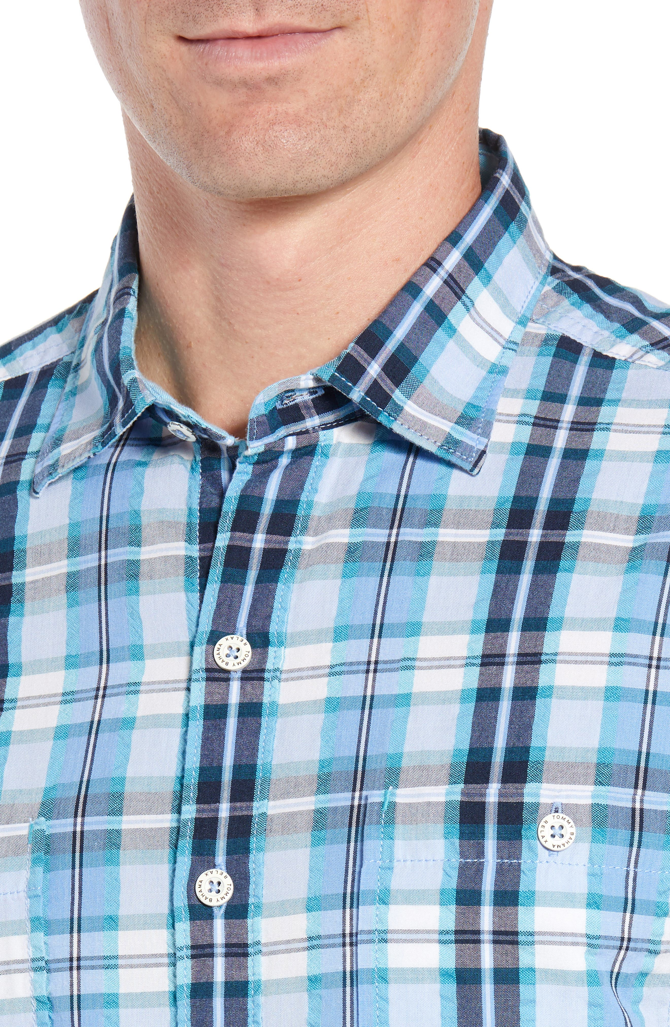 Papagayo Plaid Sport Shirt,                             Alternate thumbnail 2, color,                             RIVIERA AZURE