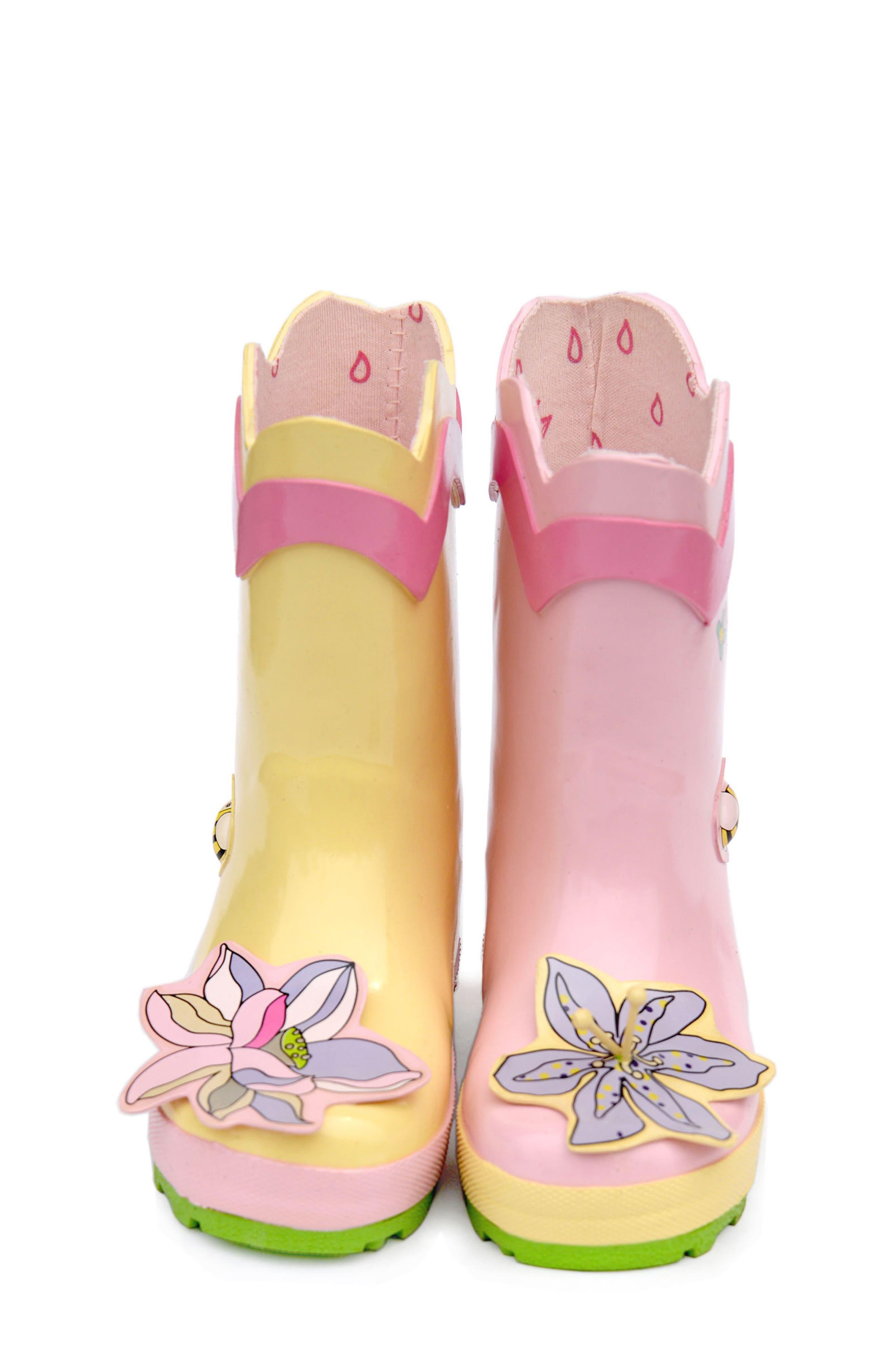 'Lotus' Waterproof Rain Boot,                             Alternate thumbnail 4, color,                             650
