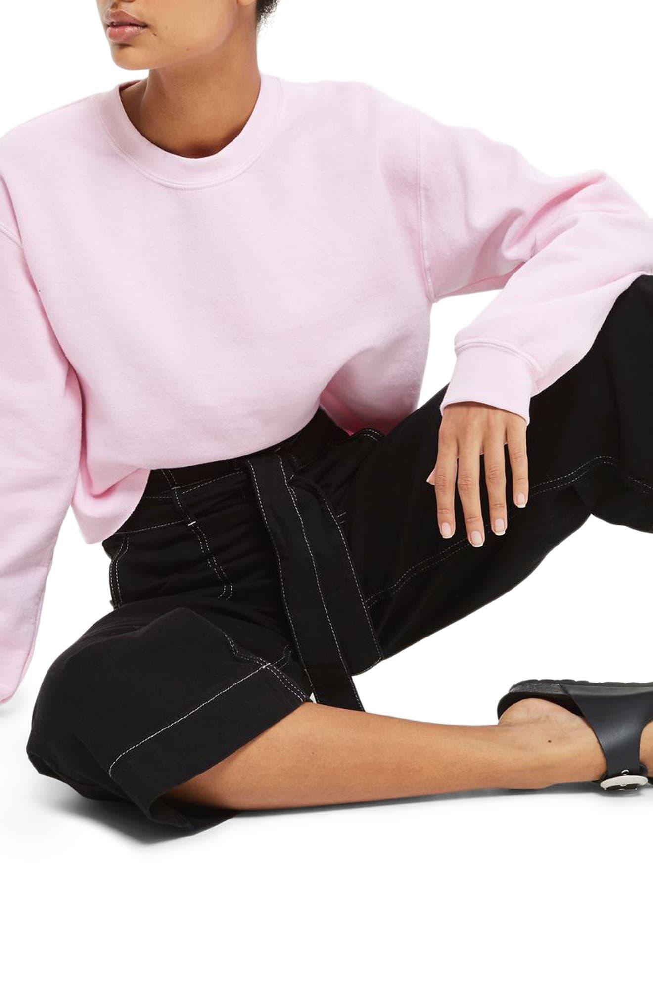 Contrast Stitch Wide Leg Crop Trousers,                             Alternate thumbnail 3, color,                             001