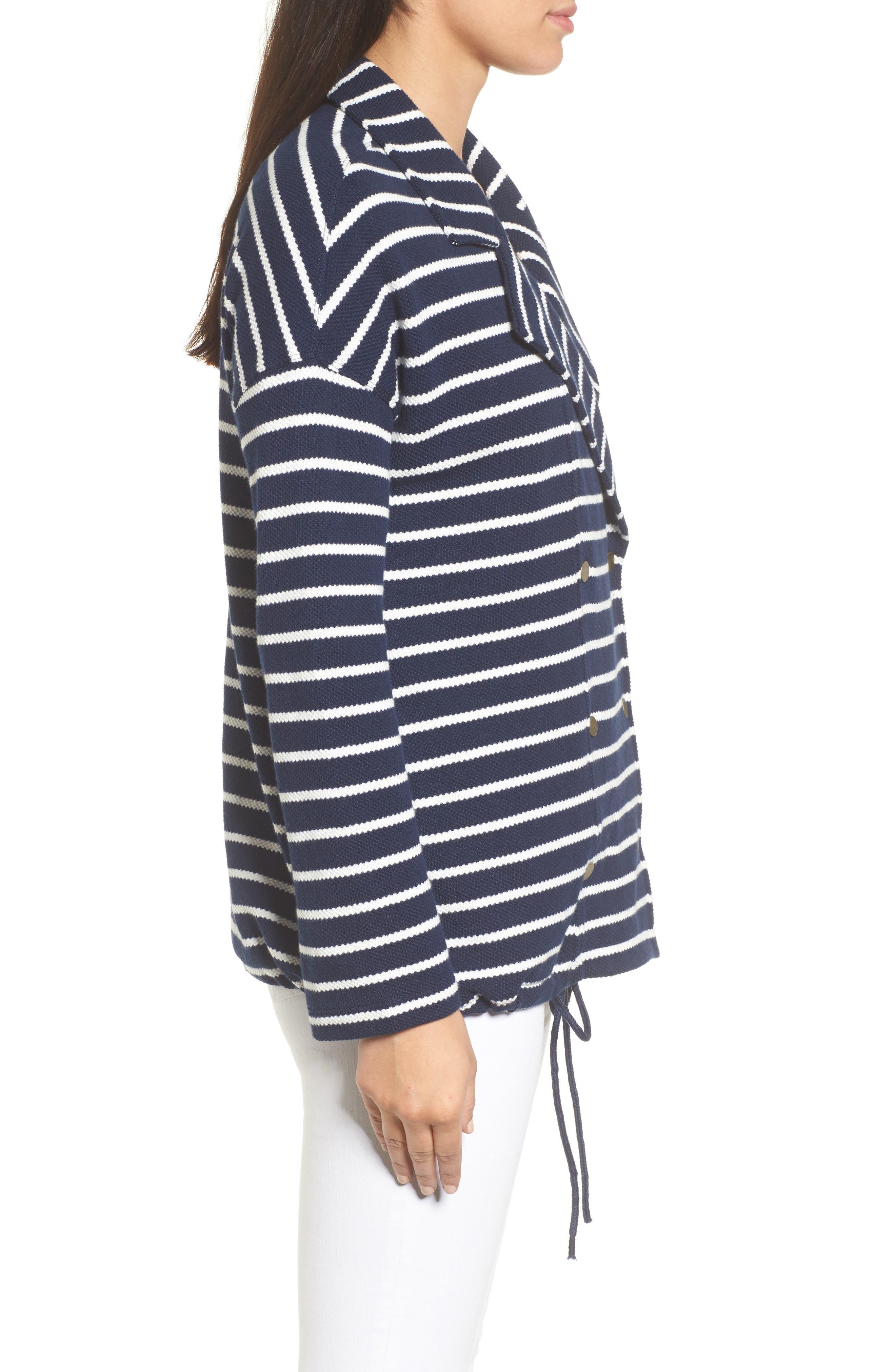Stripe Knit Drawsting Jacket,                             Alternate thumbnail 3, color,                             410