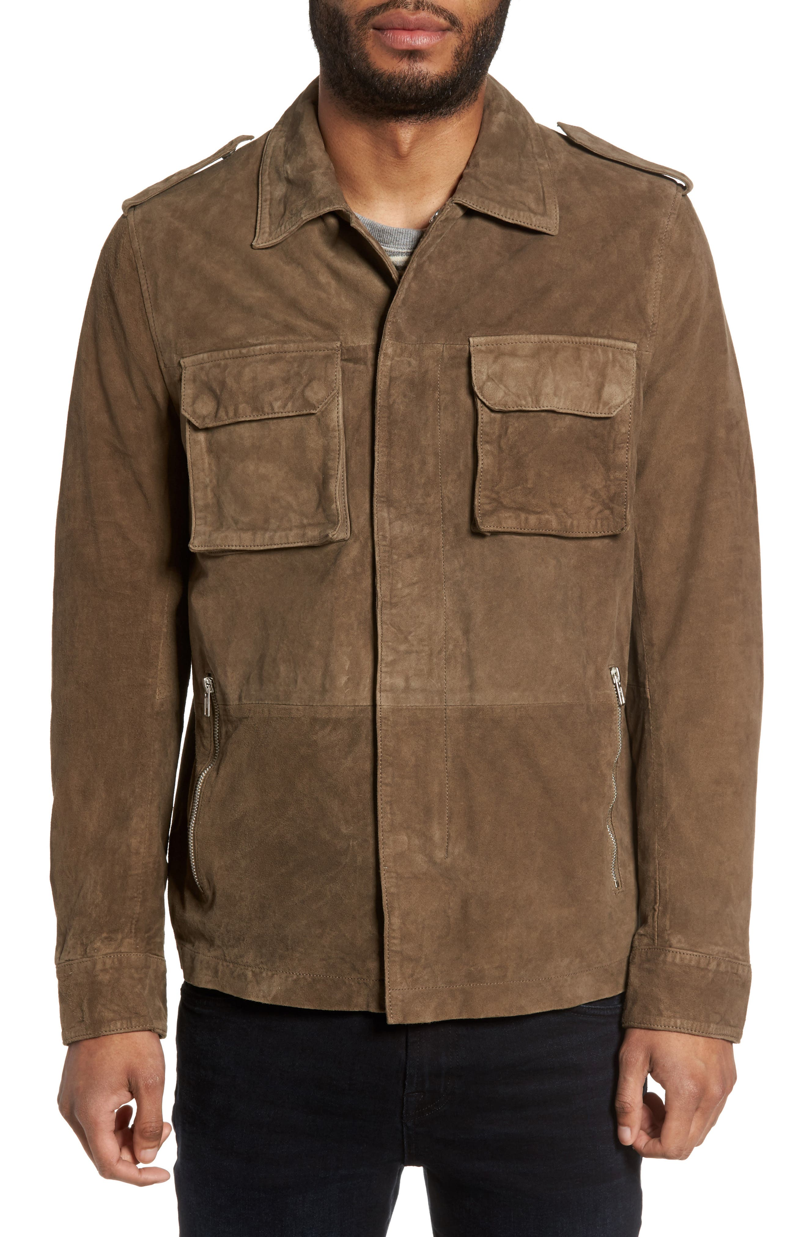 Washed Suede Military Shirt Jacket,                             Alternate thumbnail 7, color,
