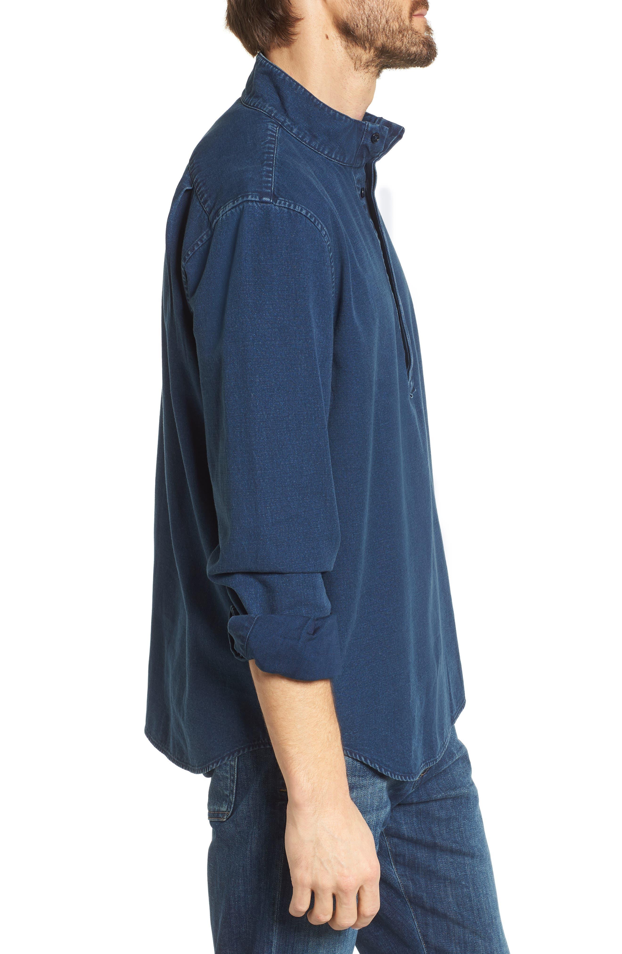 Band Collar Piqué Shirt,                             Alternate thumbnail 3, color,                             400