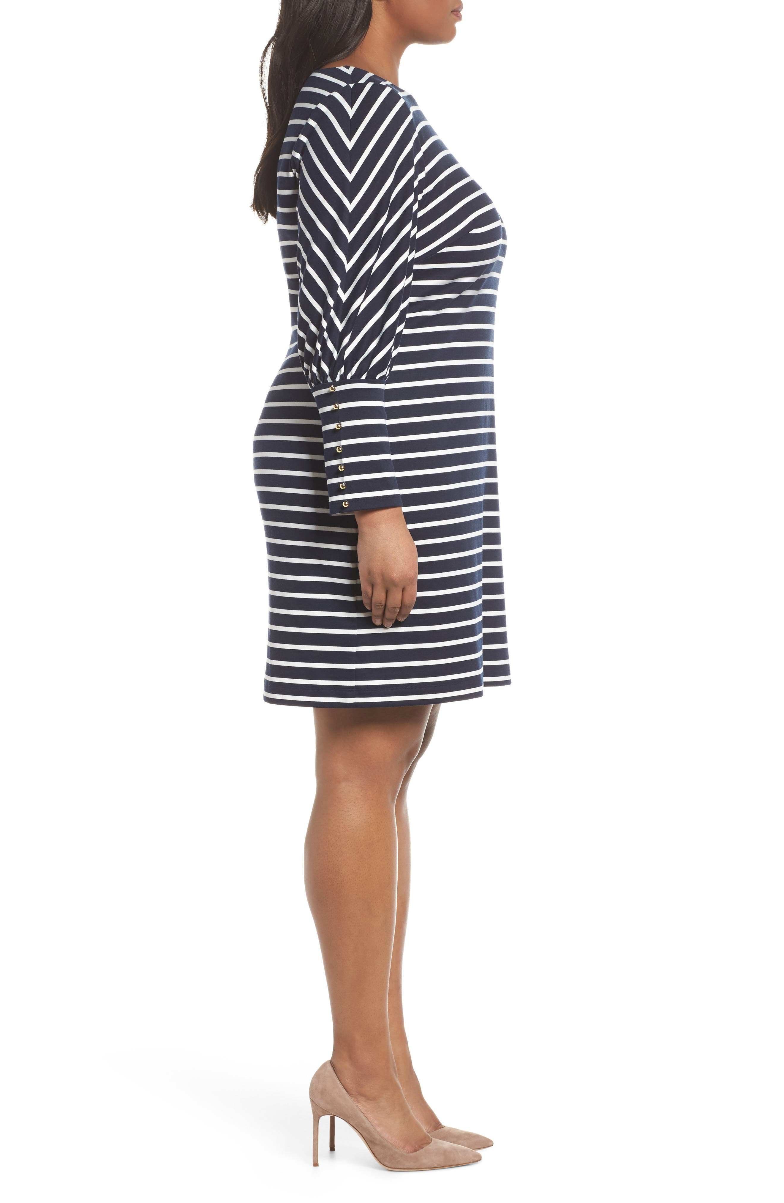 Stripe Ponte Shift Dress,                             Alternate thumbnail 3, color,                             407