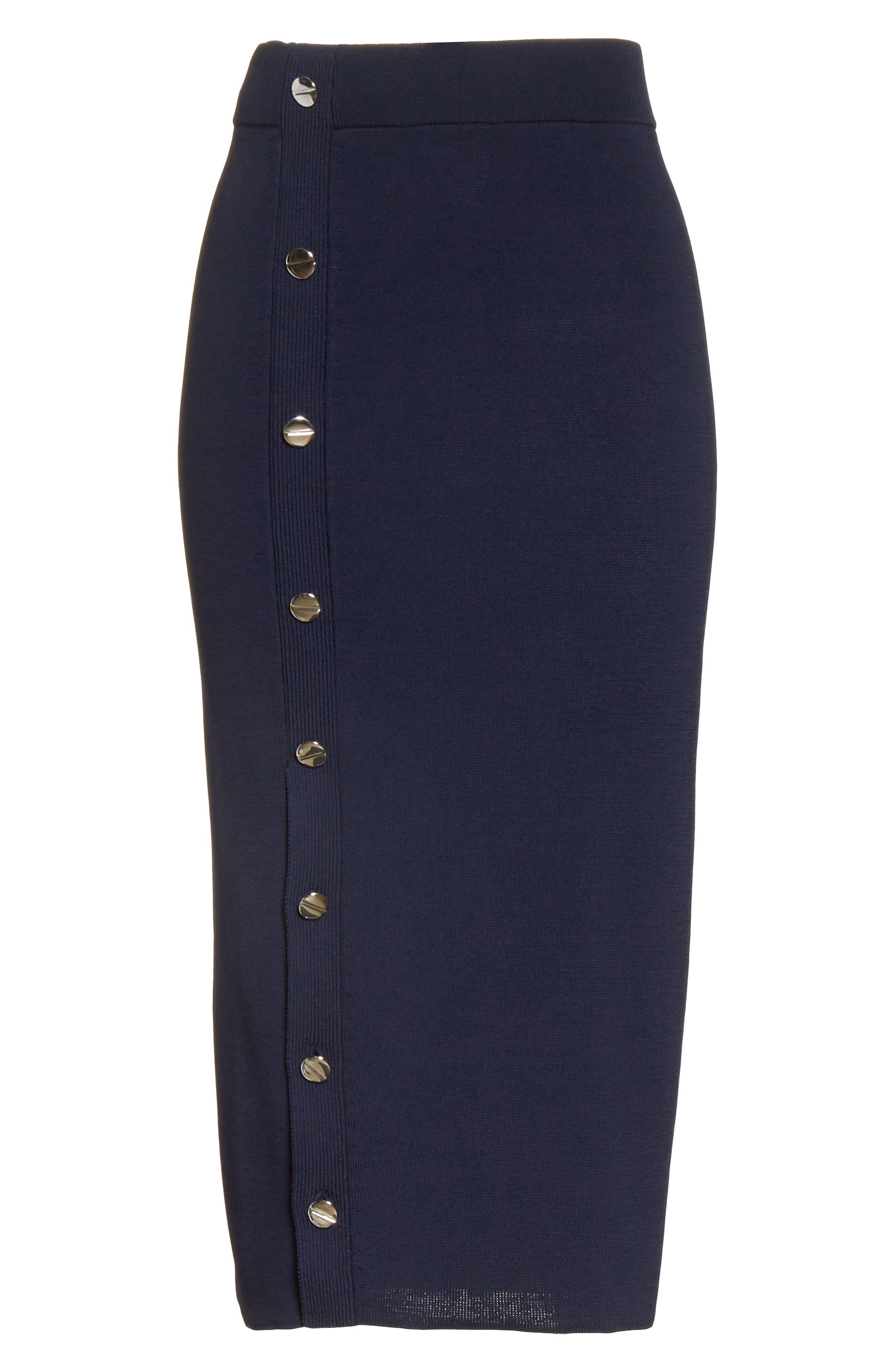 Button Detail Knit Pencil Skirt,                             Alternate thumbnail 6, color,