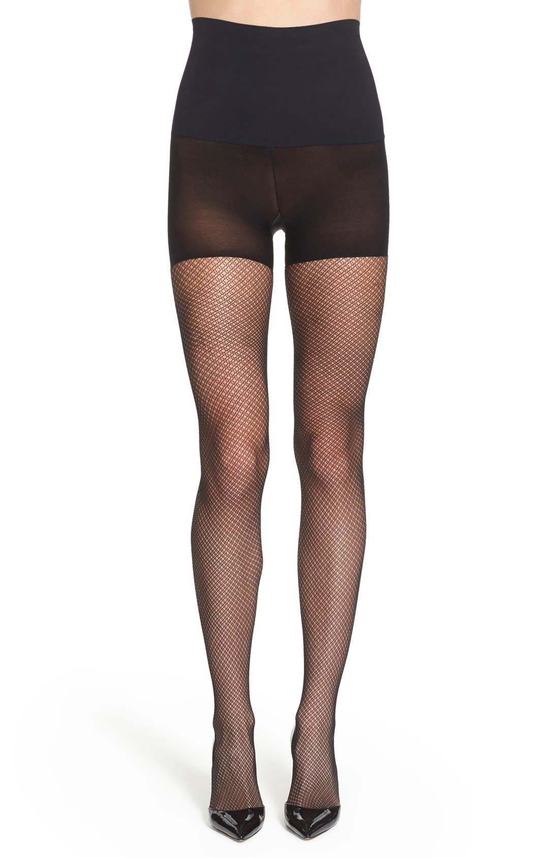'Everyday Crochet' Control Top Tights,                             Main thumbnail 1, color,                             001