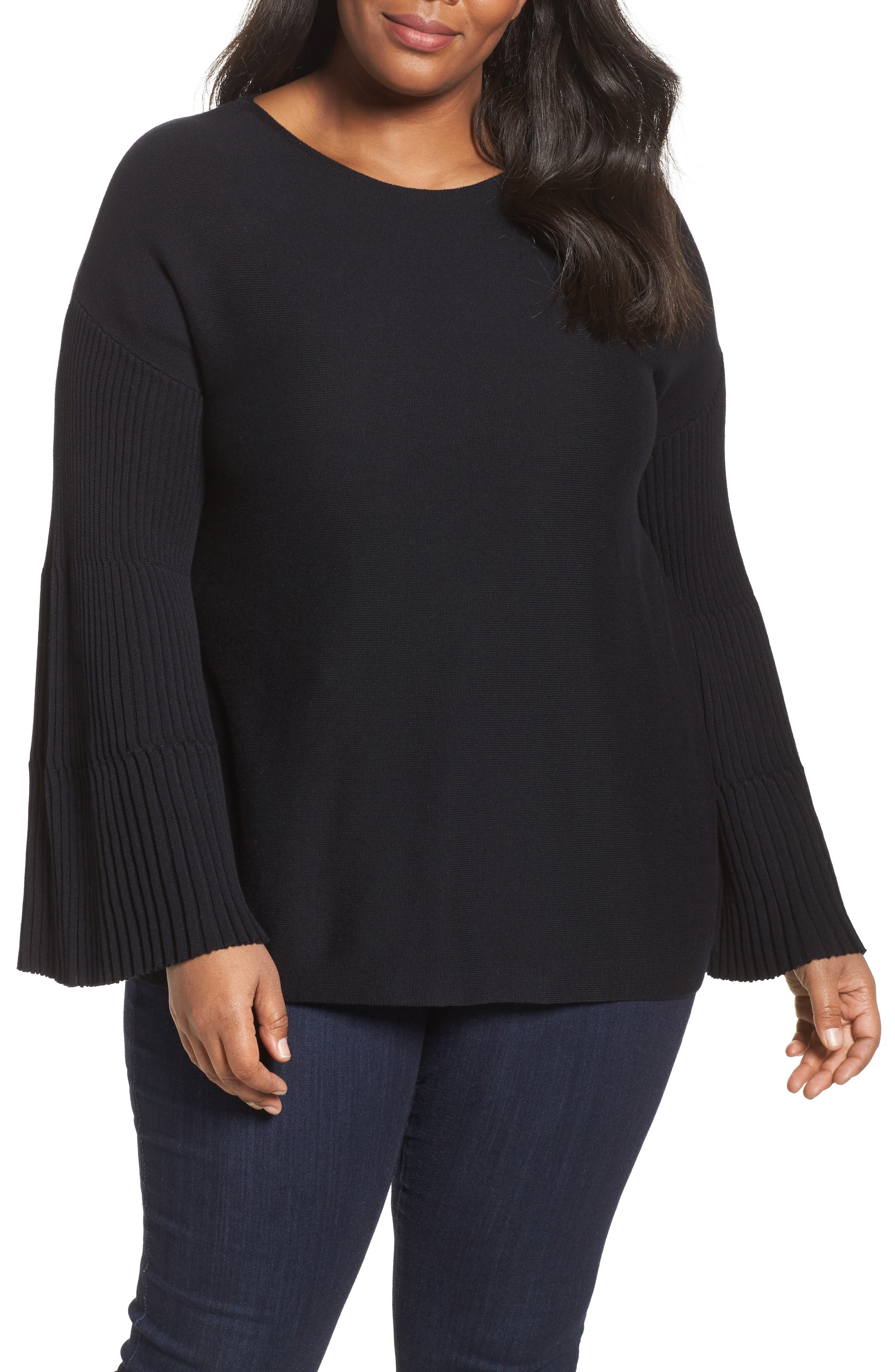 Ribbed Bell Sleeve Sweater,                             Main thumbnail 1, color,                             019