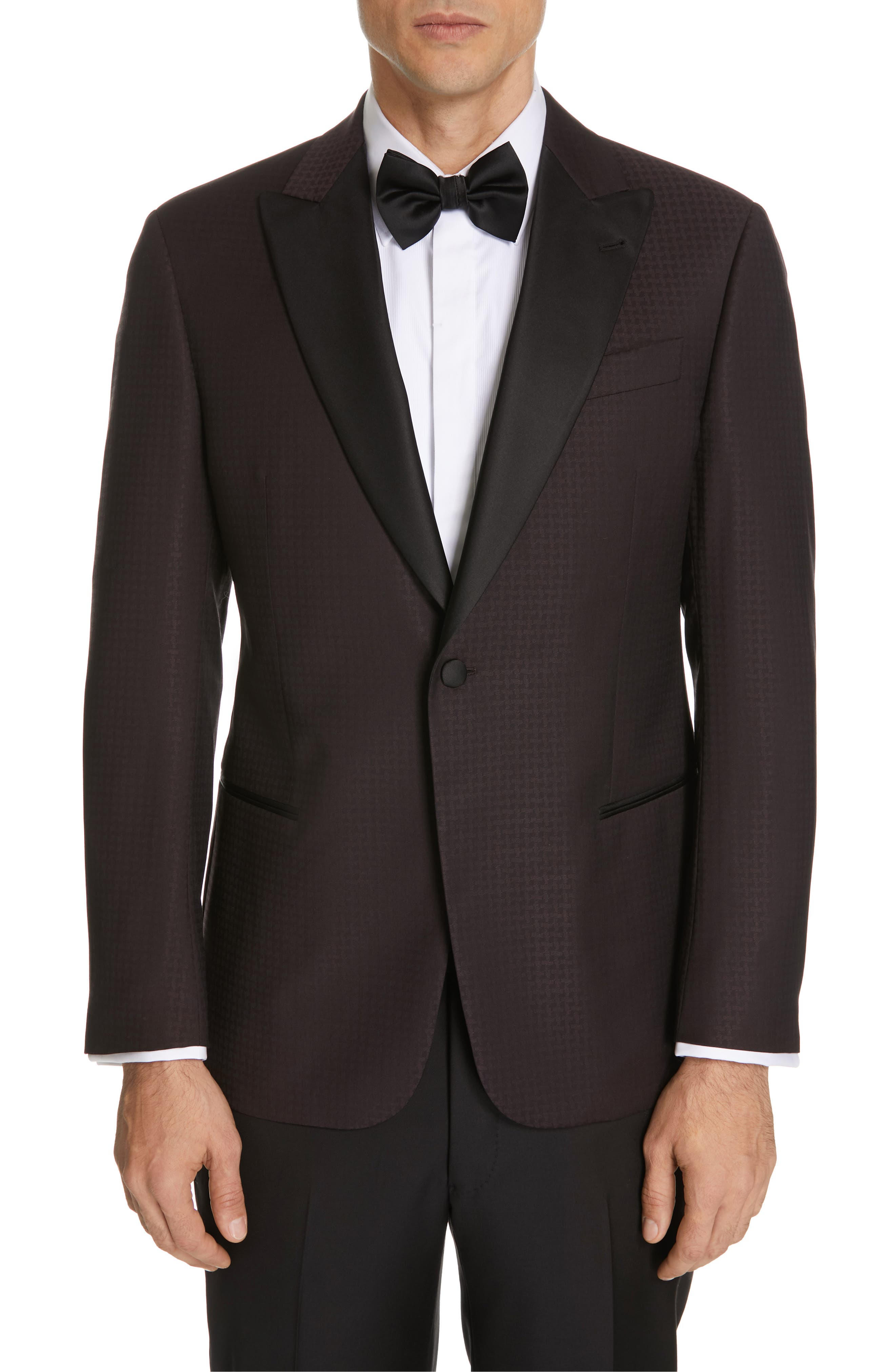Trim Fit Houndstooth Wool Dinner Jacket,                             Main thumbnail 1, color,                             PURPLE