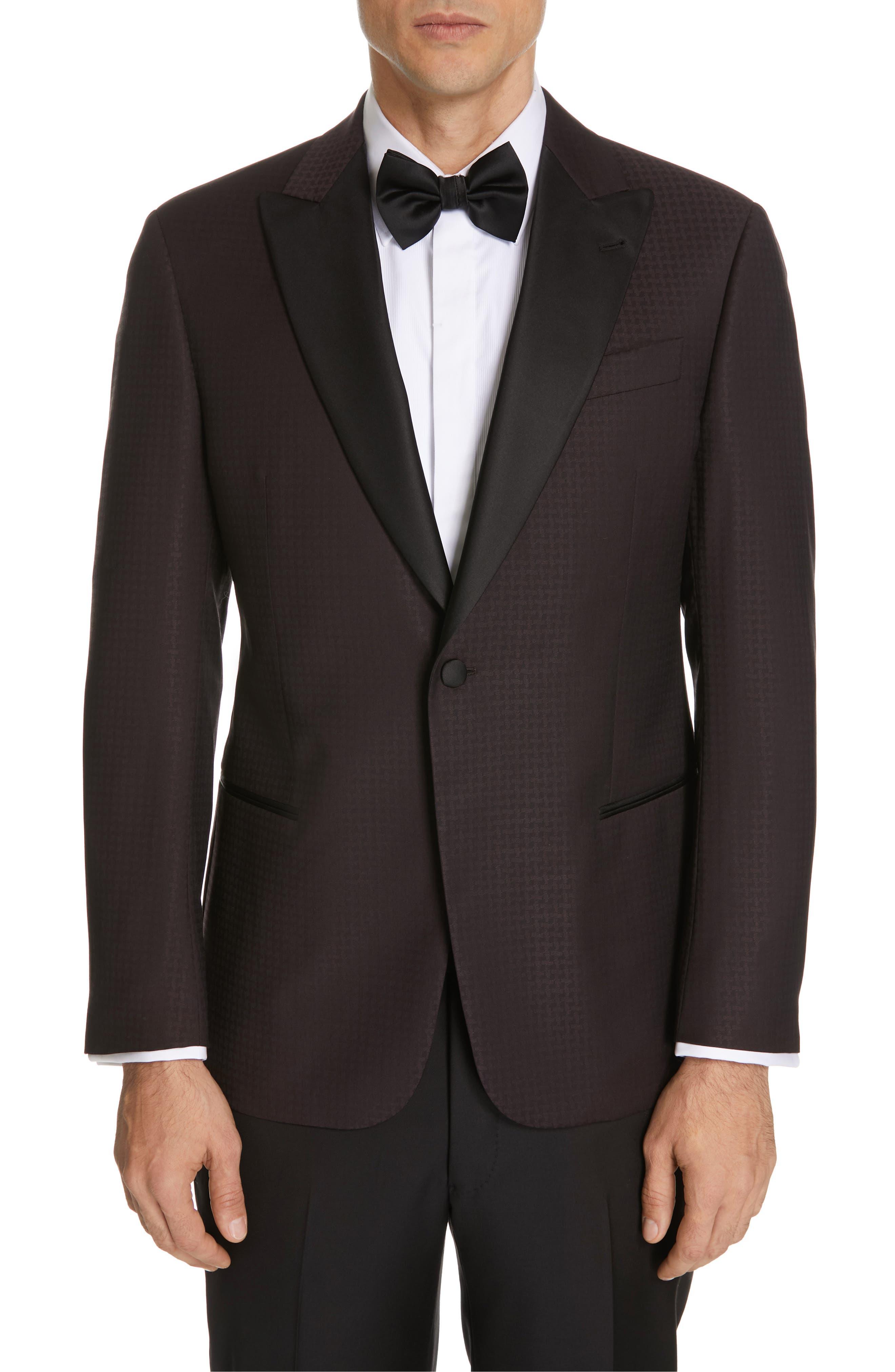 Trim Fit Houndstooth Wool Dinner Jacket, Main, color, PURPLE