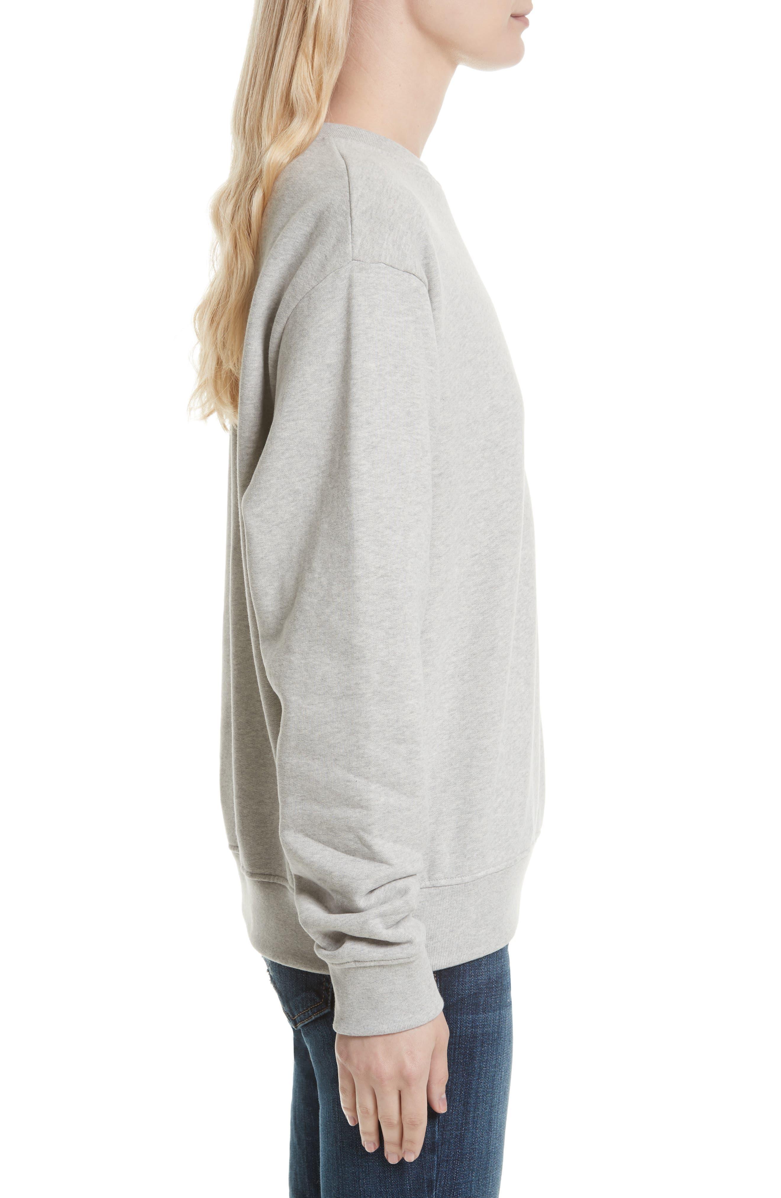 Cotton Sweatshirt,                             Alternate thumbnail 3, color,                             HEATHER GREY