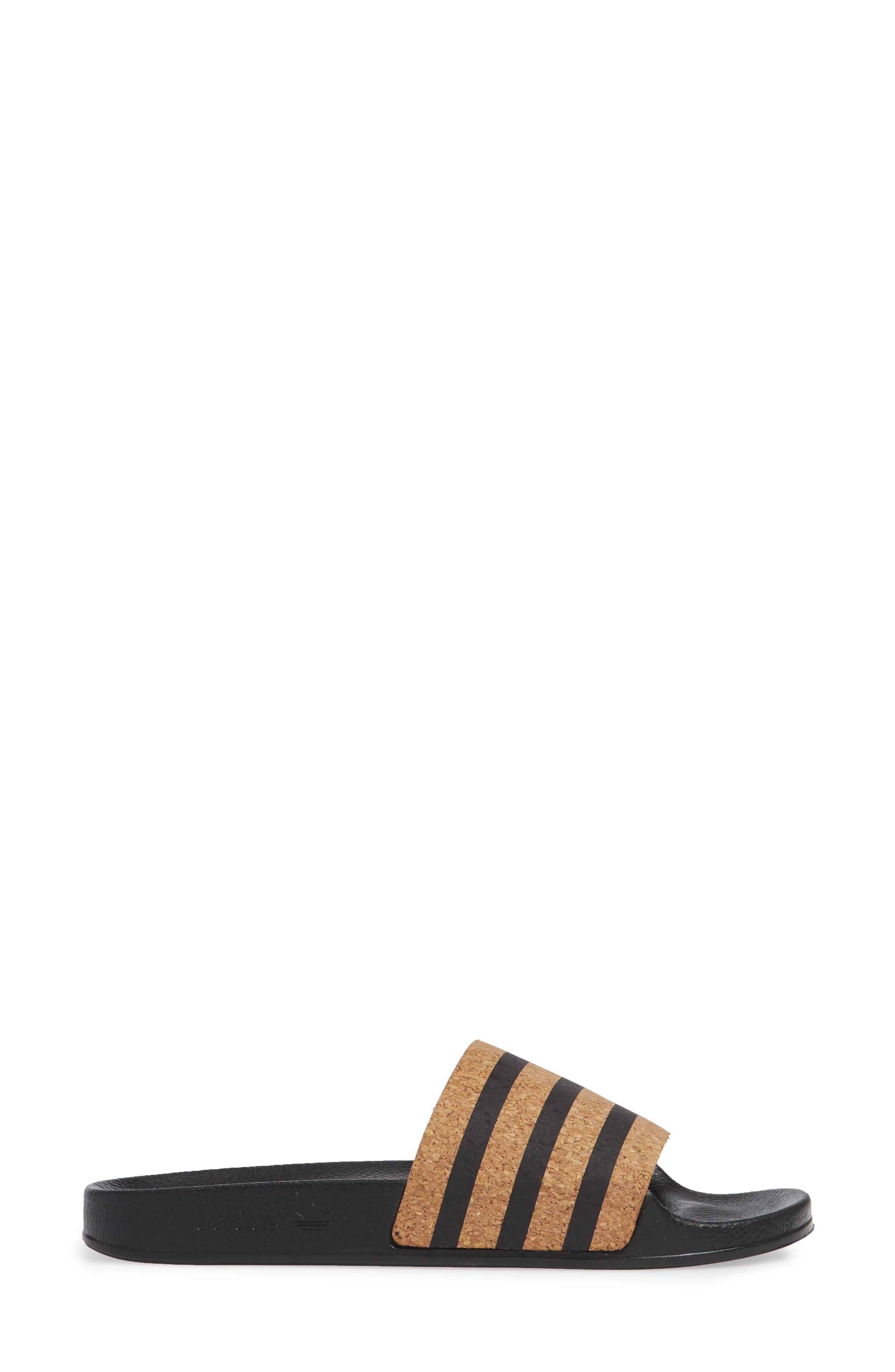 'Adilette' Slide Sandal,                             Alternate thumbnail 3, color,                             CORE BLACK/ CORE BLACK