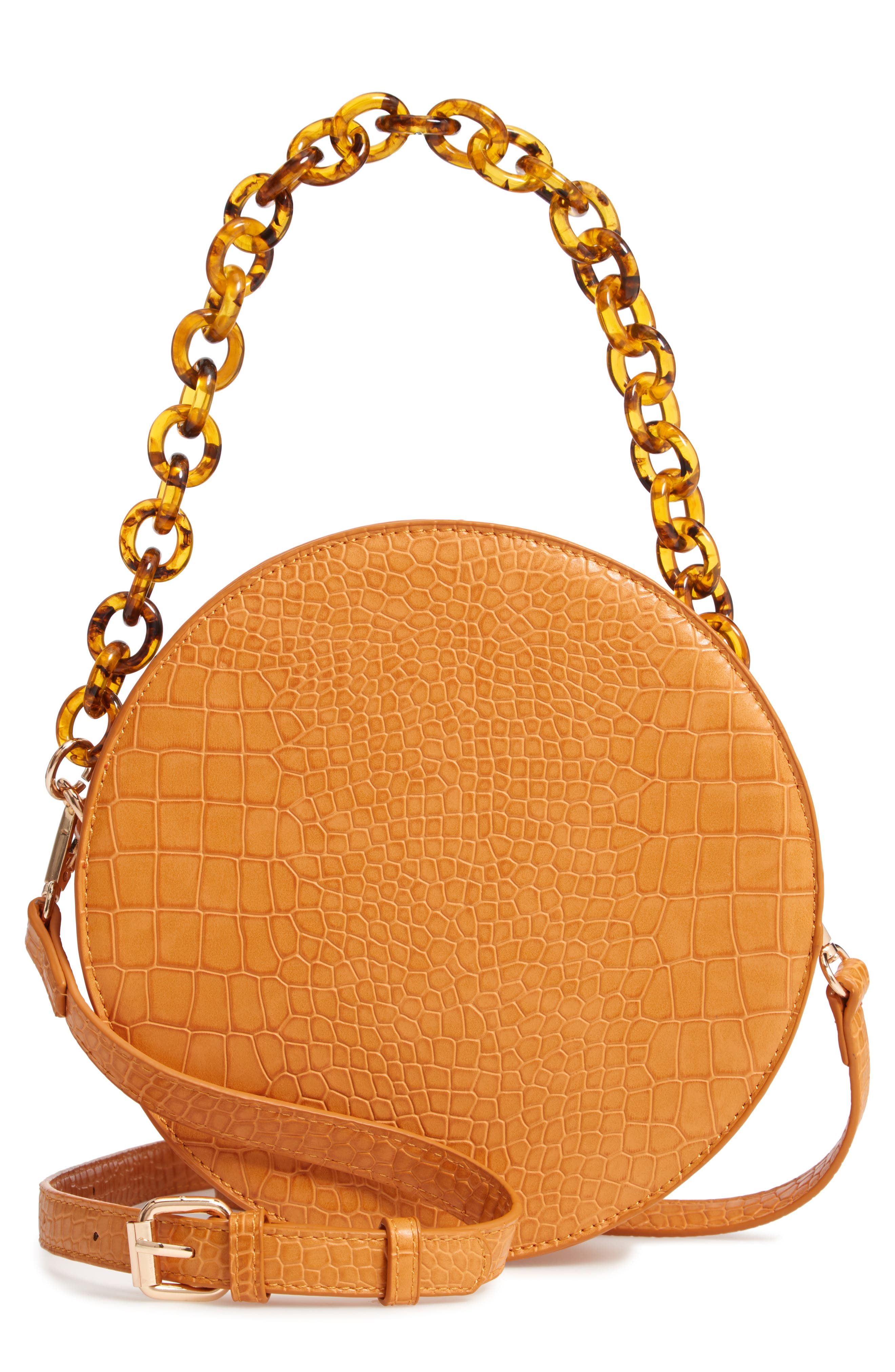 STREET LEVEL Croc Embossed Faux Leather Circle Bag - Yellow in Mustard