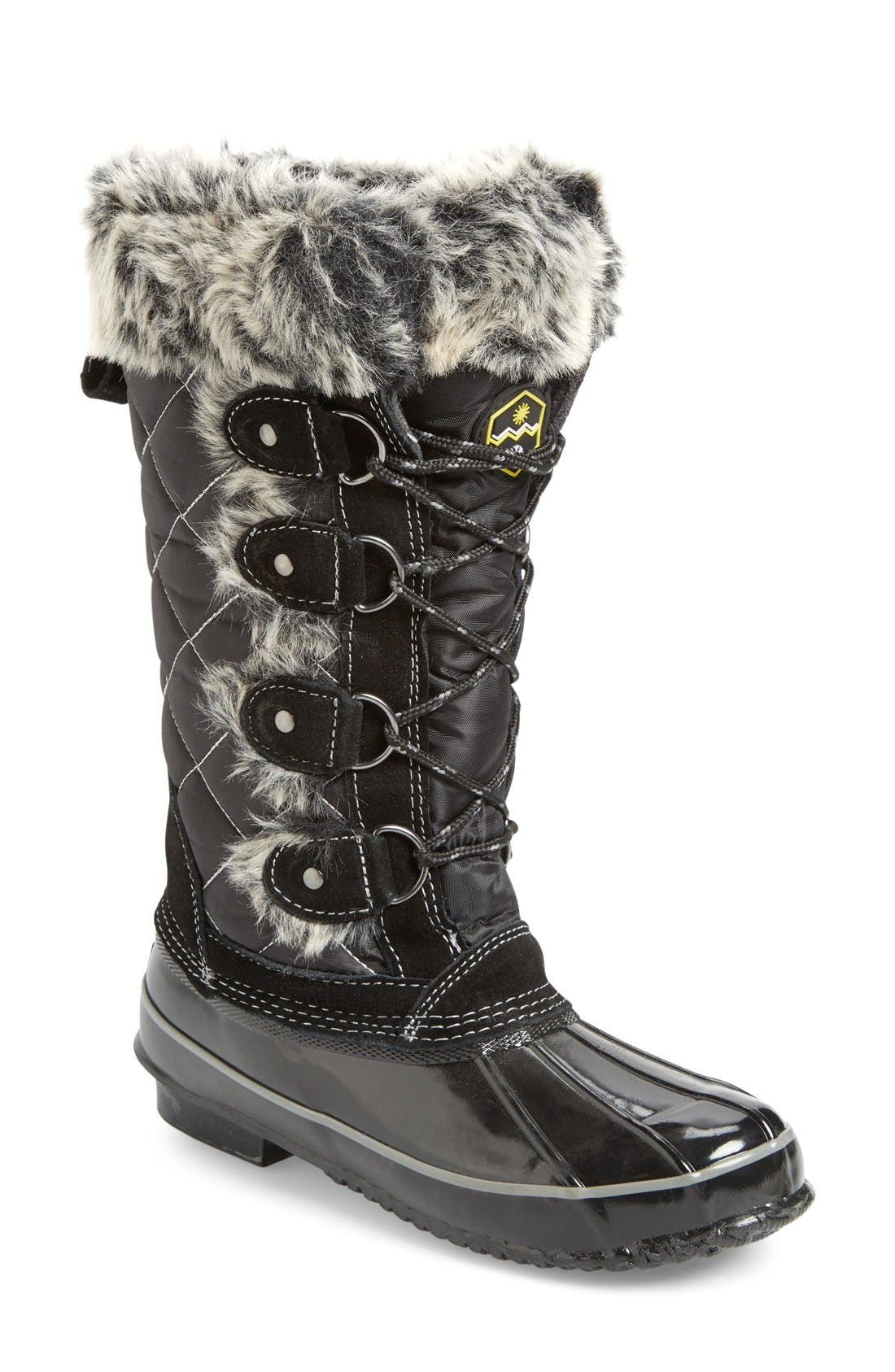 Waterproof Lace-Up Boot,                             Main thumbnail 1, color,                             001